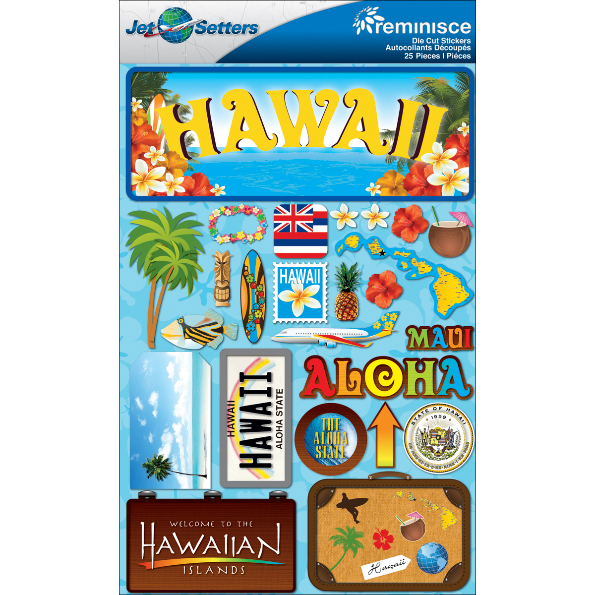 Hawaii - Reminisce Jet Setters State Dimensional Stickers
