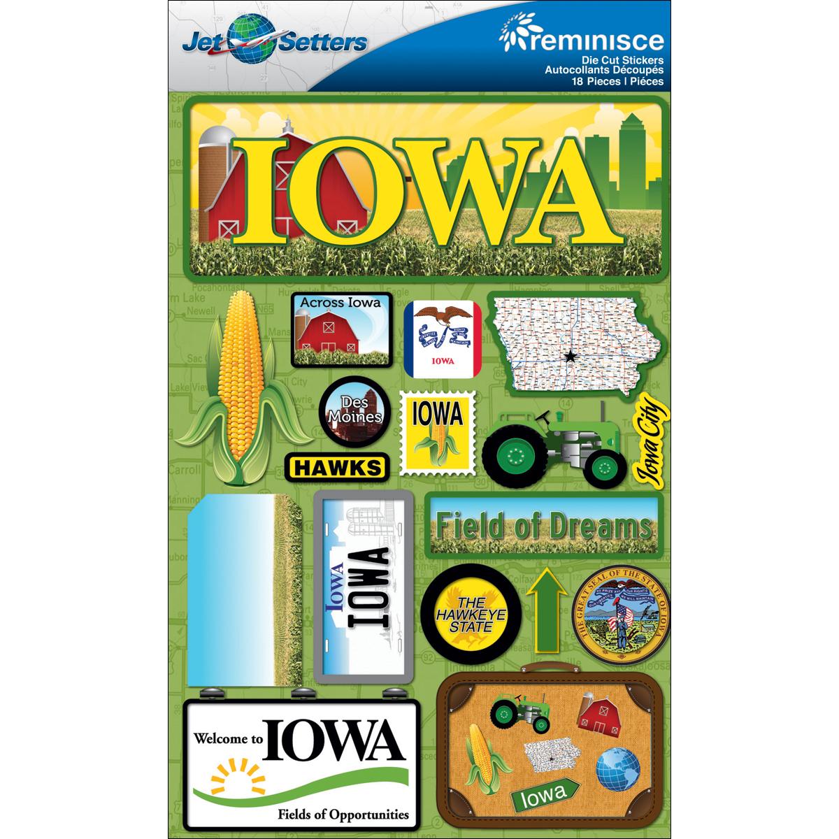 Iowa - Reminisce Jet Setters State Dimensional Stickers