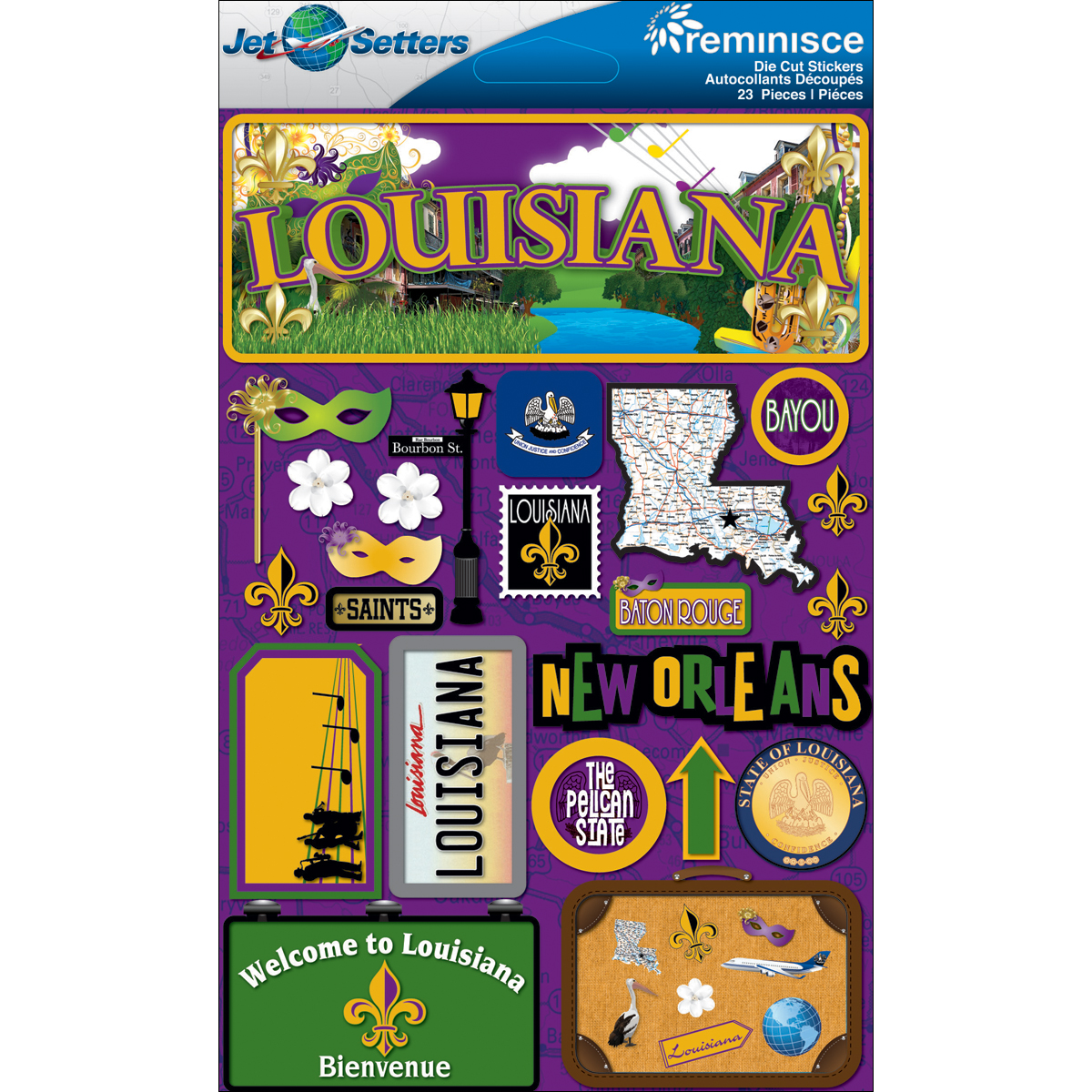 Louisiana - Reminisce Jet Setters State Dimensional Stickers