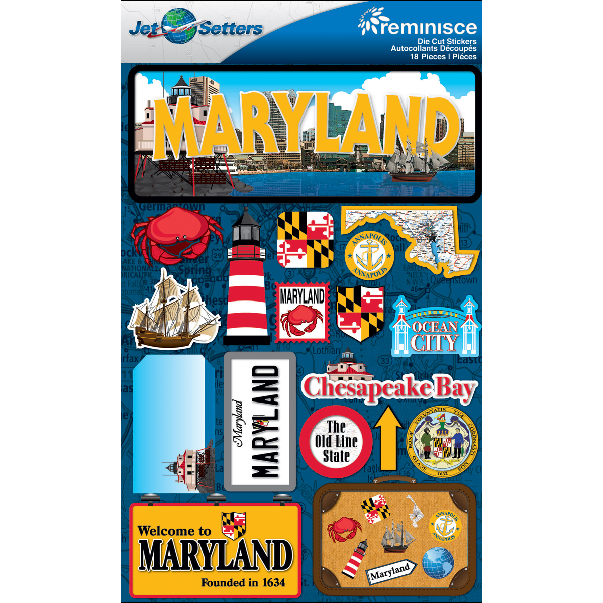 Maryland - Reminisce Jet Setters State Dimensional Stickers