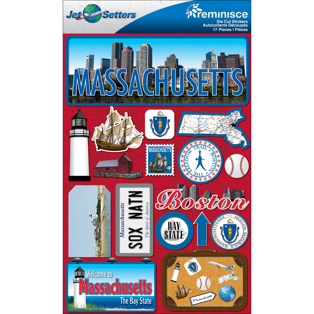Massachusetts - Reminisce Jet Setters State Dimensional Stickers