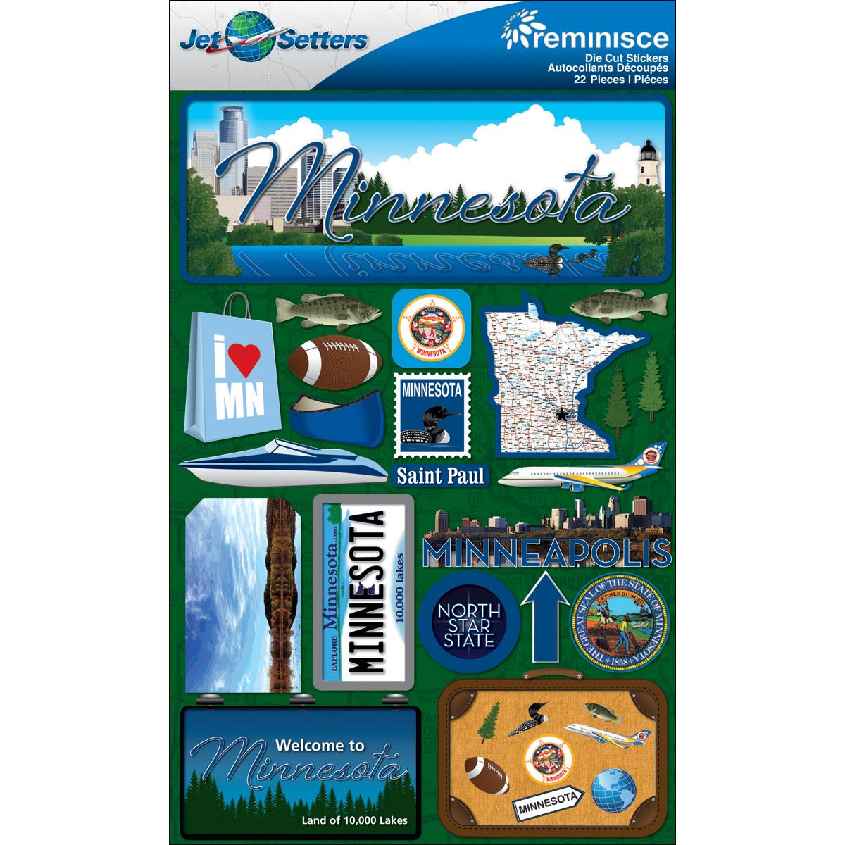 Minnesota - Reminisce Jet Setters State Dimensional Stickers
