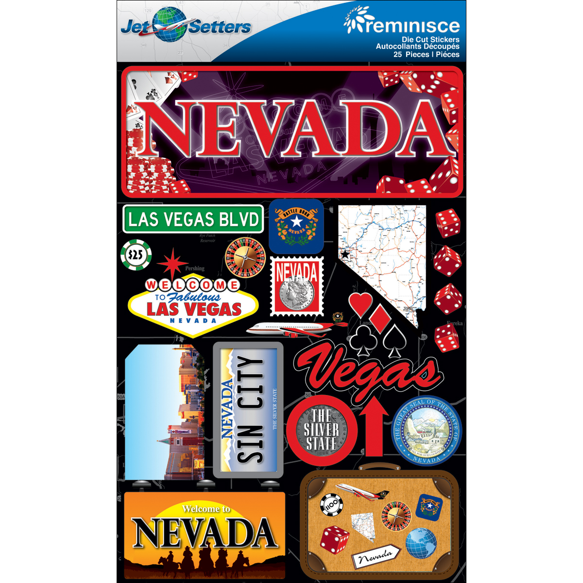 Reminisce Jet Setters State Dimensional Stickers 4.5X7.5-Nevada