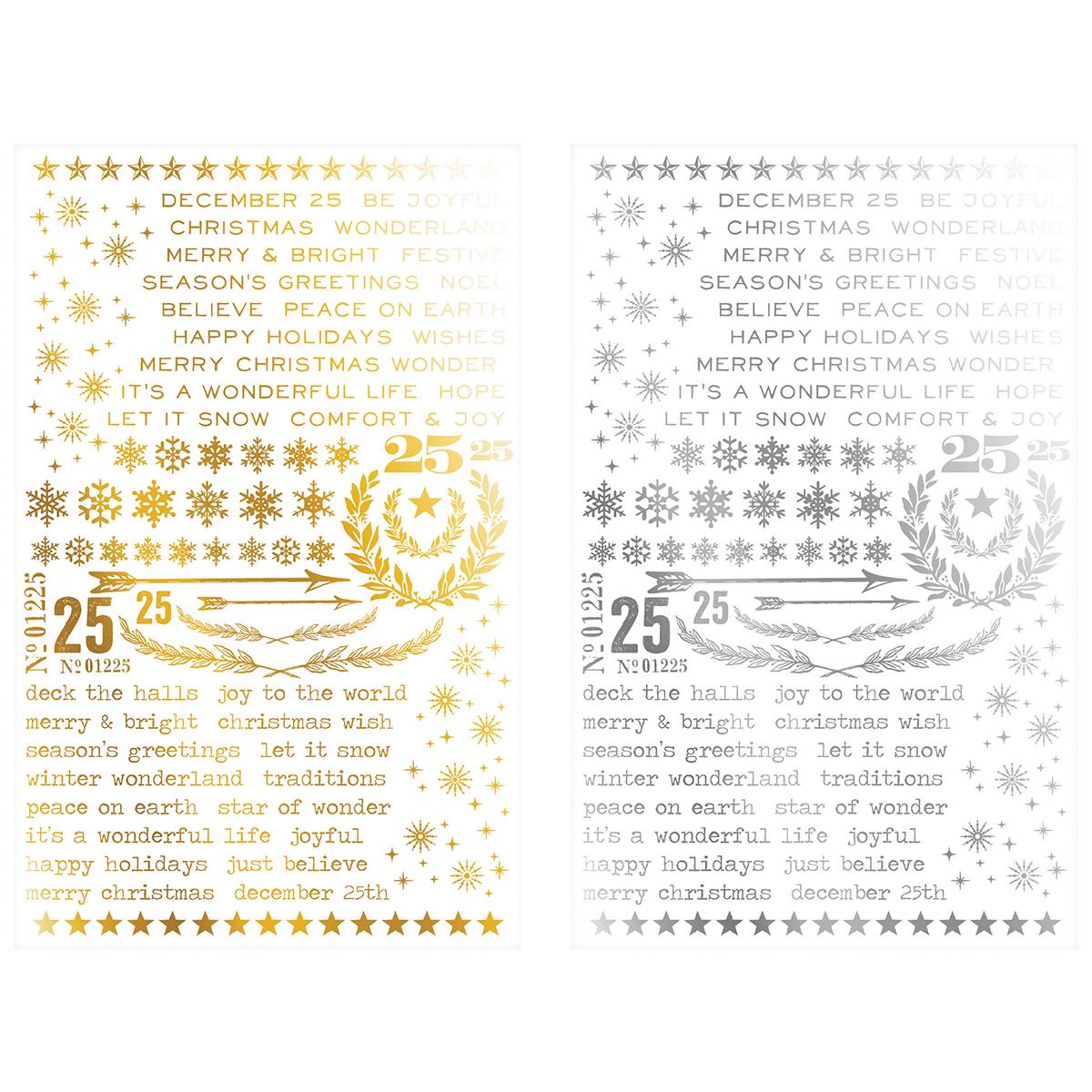 Idea-Ology Remnant Rubs Foil Rub-Ons 4.75X7.75 2/Pkg-Gilded Christmastime -1 S...