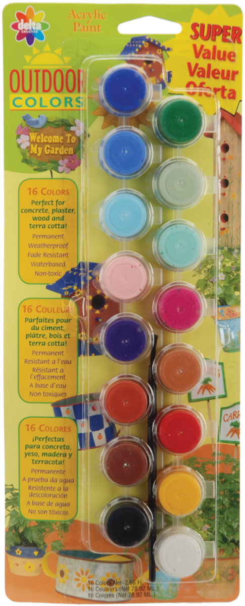 Acrylic Paint Pots 16/Pkg-Outdoor