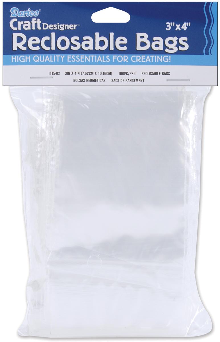 Darice Reclosable Bags 100/Pkg-3X4 Clear