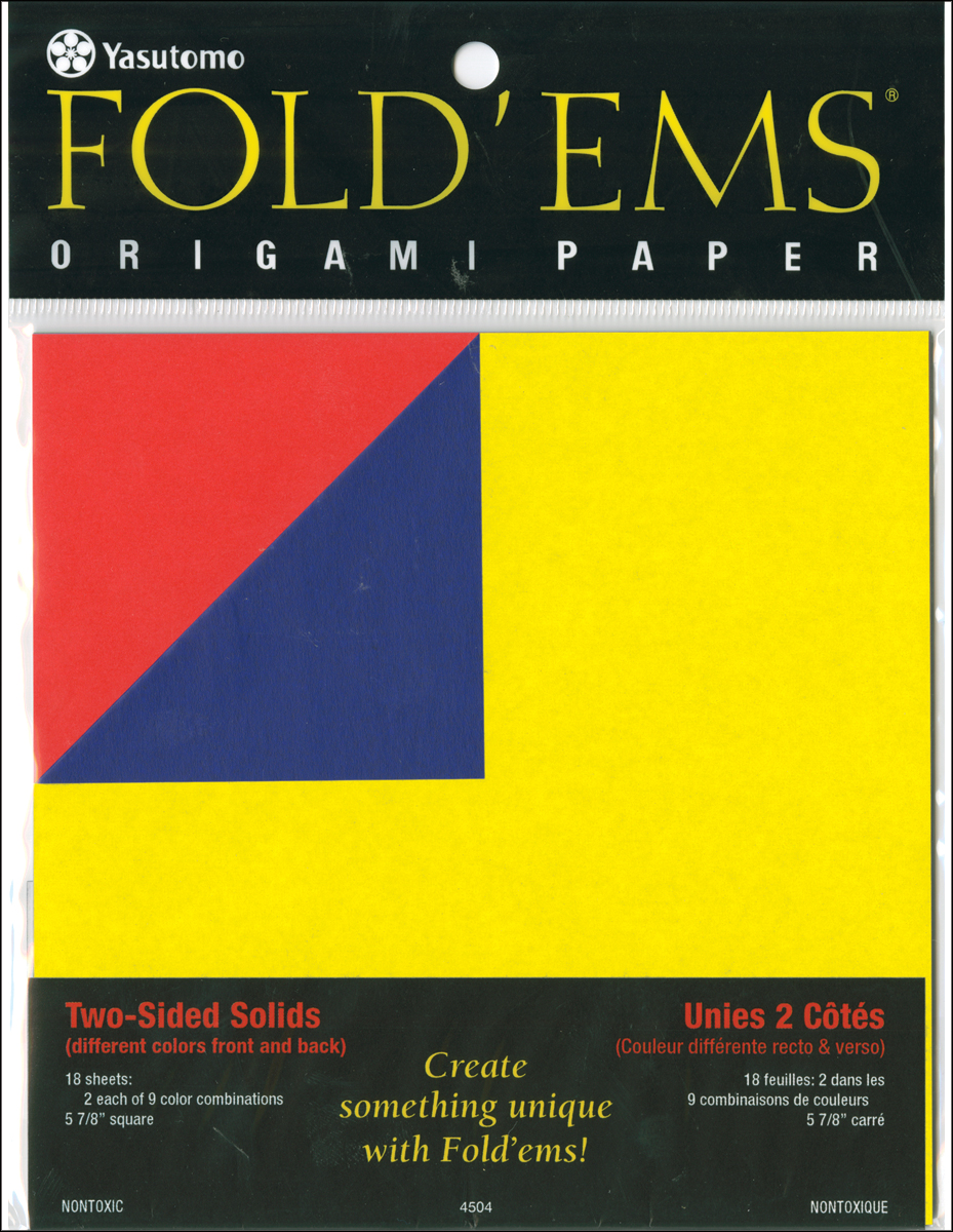 Fold 'Ems Origami 2-Sided Paper 5.875 18/Pkg-Solids, 9 Colors/2 Each.