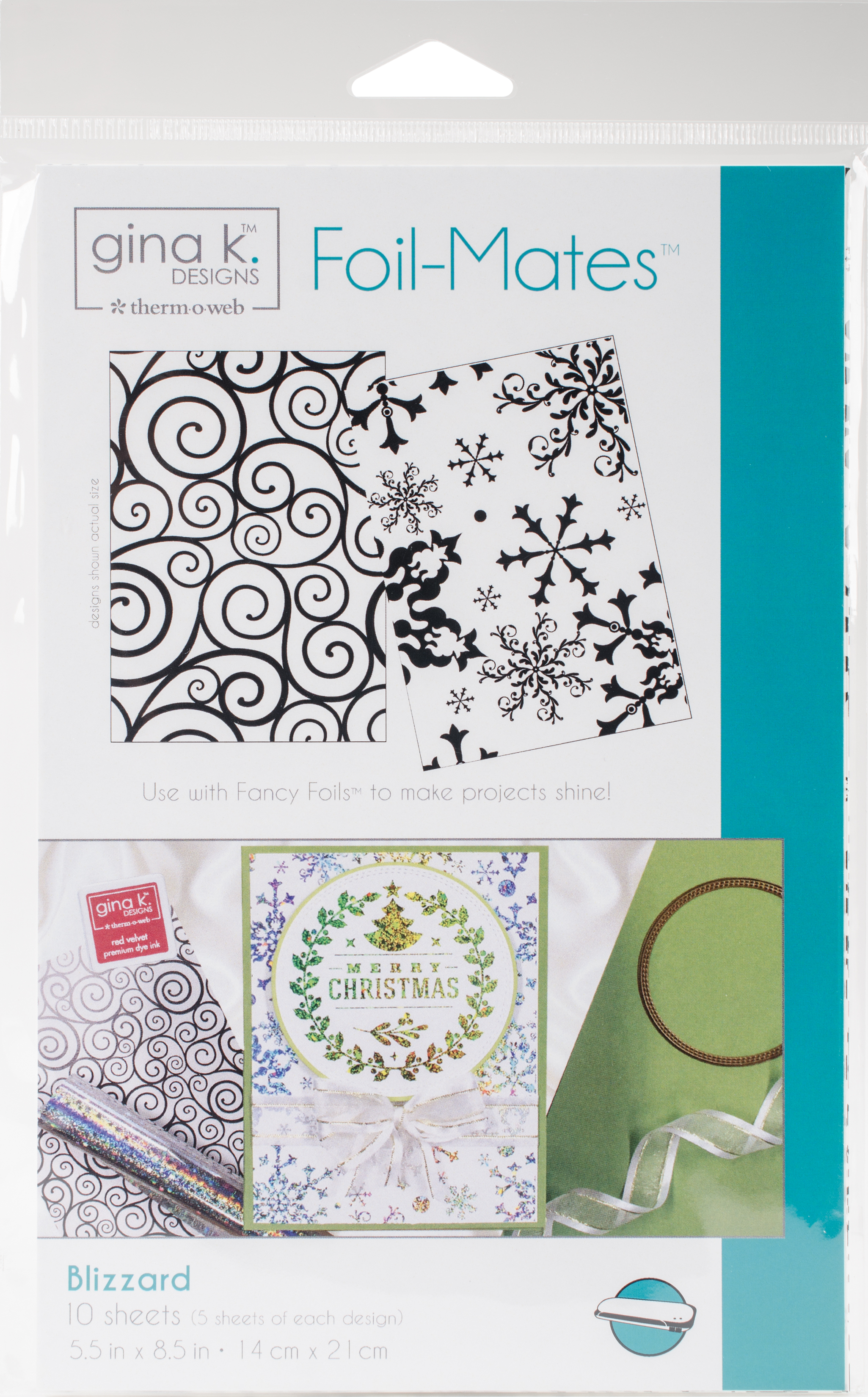 Gina K Designs Foil-Mates Background 5.5X8.5 10/Pkg-Blizzard