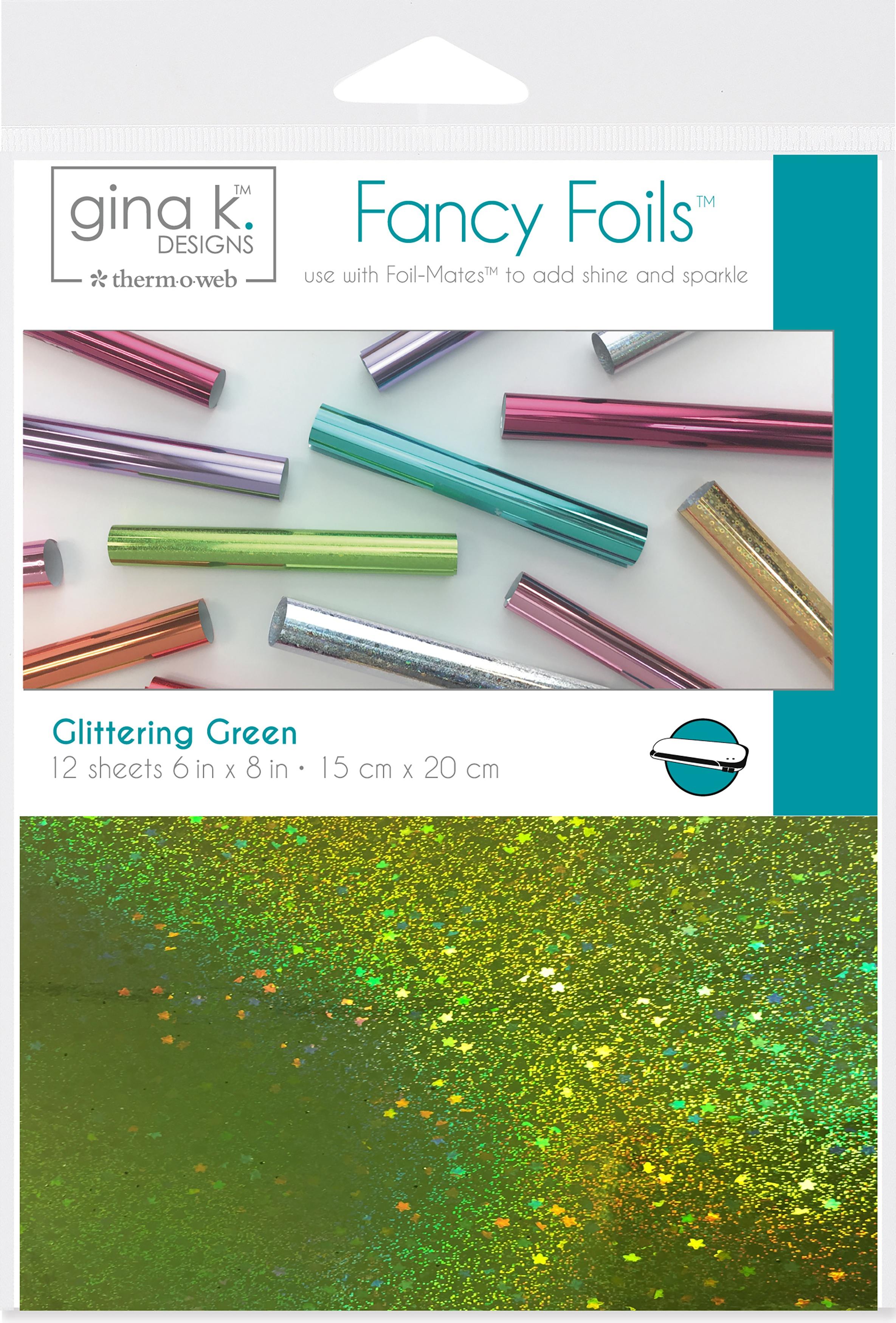 Gina K Designs Fancy Foil 6X8 12/Pkg-Glittering Green