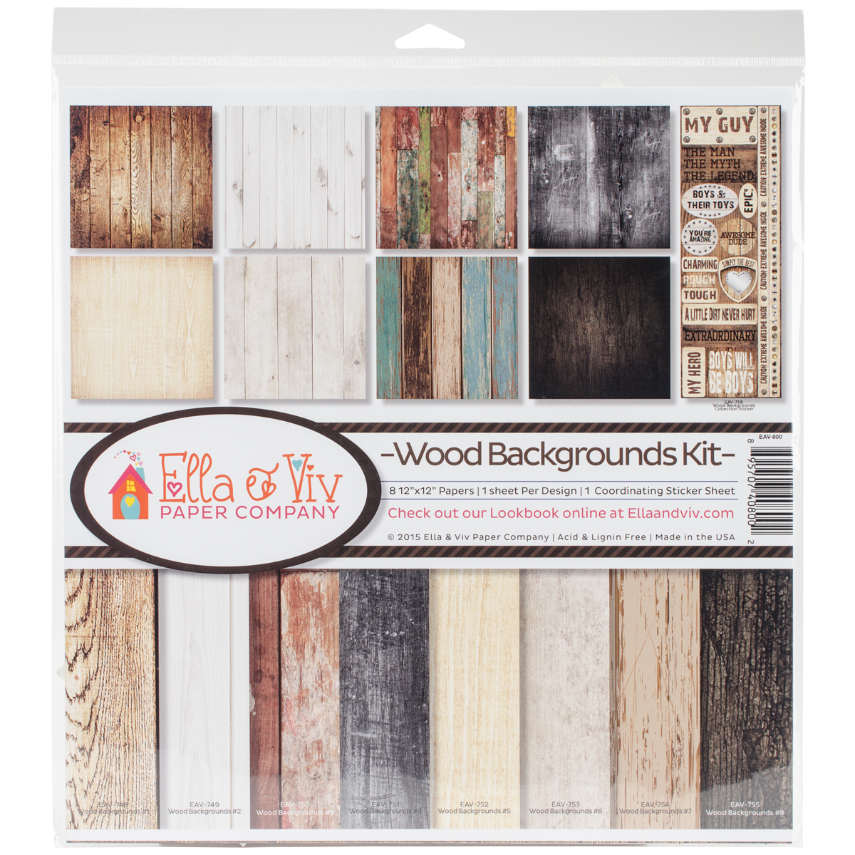 Ella & Viv Collection Kit 12X12-Wood Backgrounds