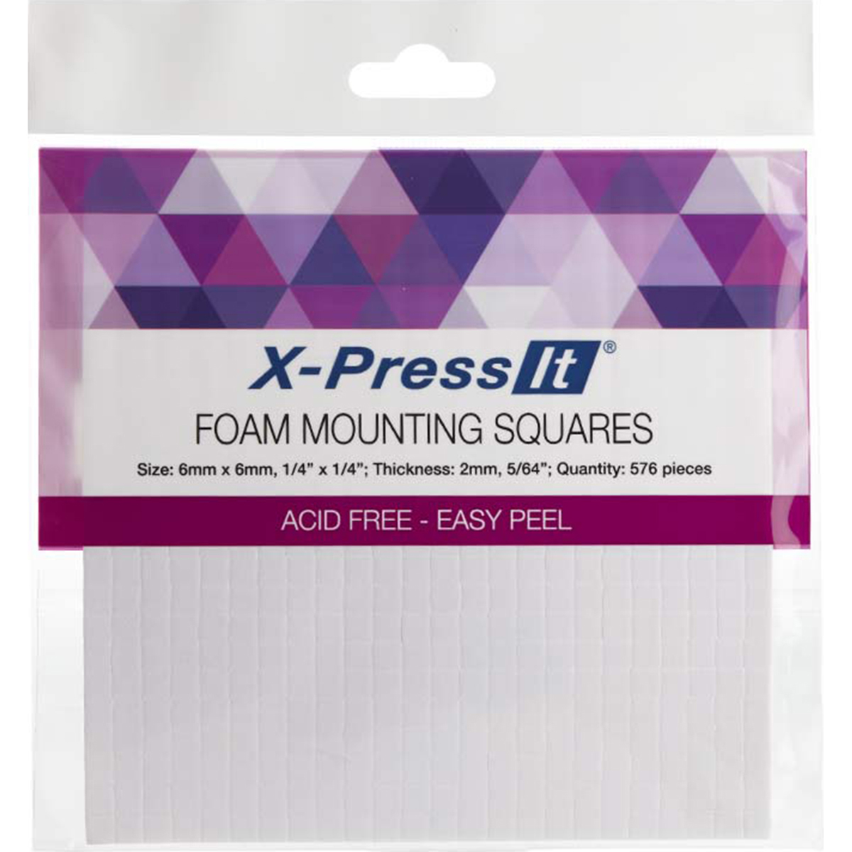 X-Press It Foam Mounting Squares .25X.25 576/Pkg-White