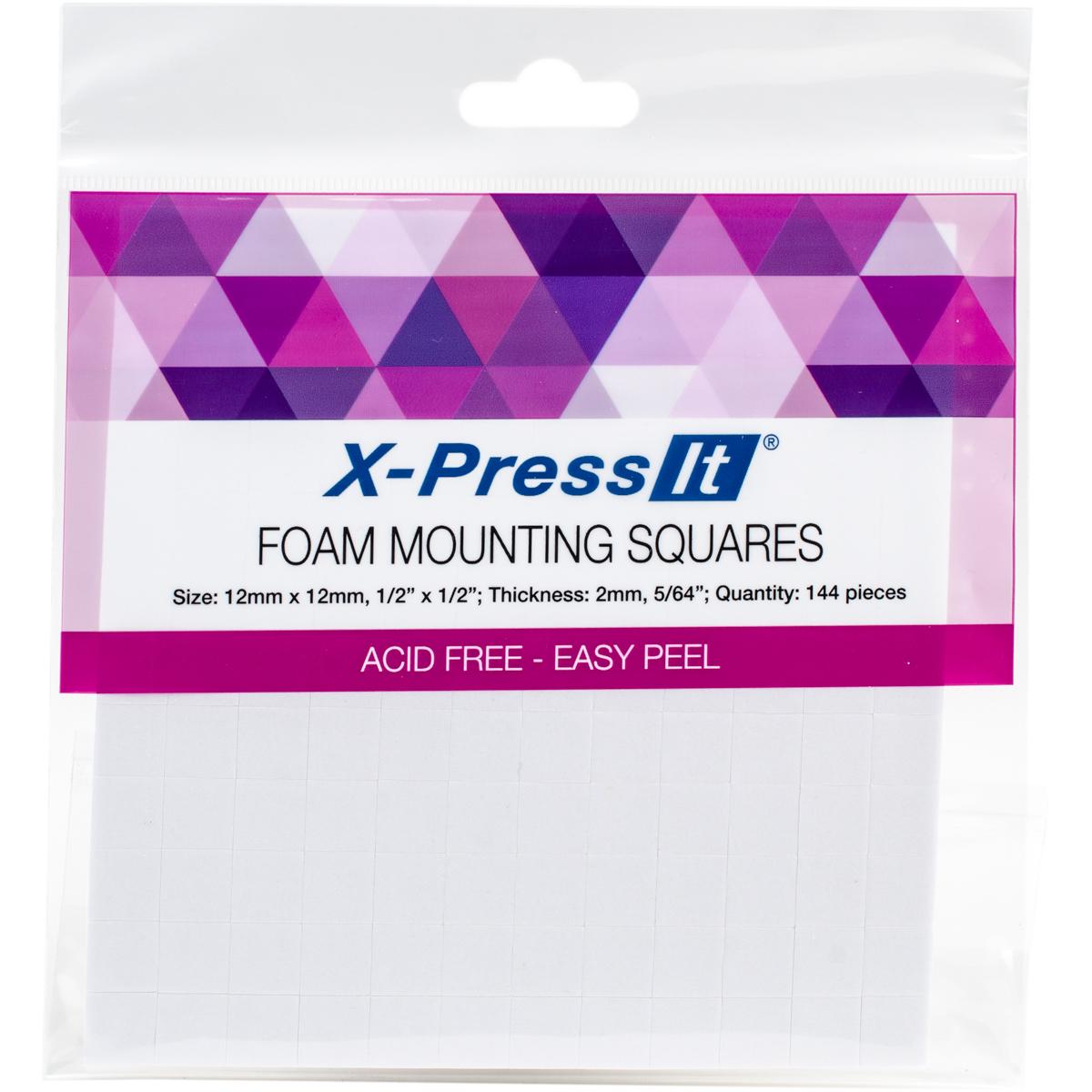 X-Press It Foam Mounting Squares .5X.5 144/Pkg-White