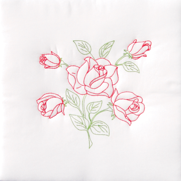 Stamped Embroidery Blocks - 18in - Long Stemmed Rose