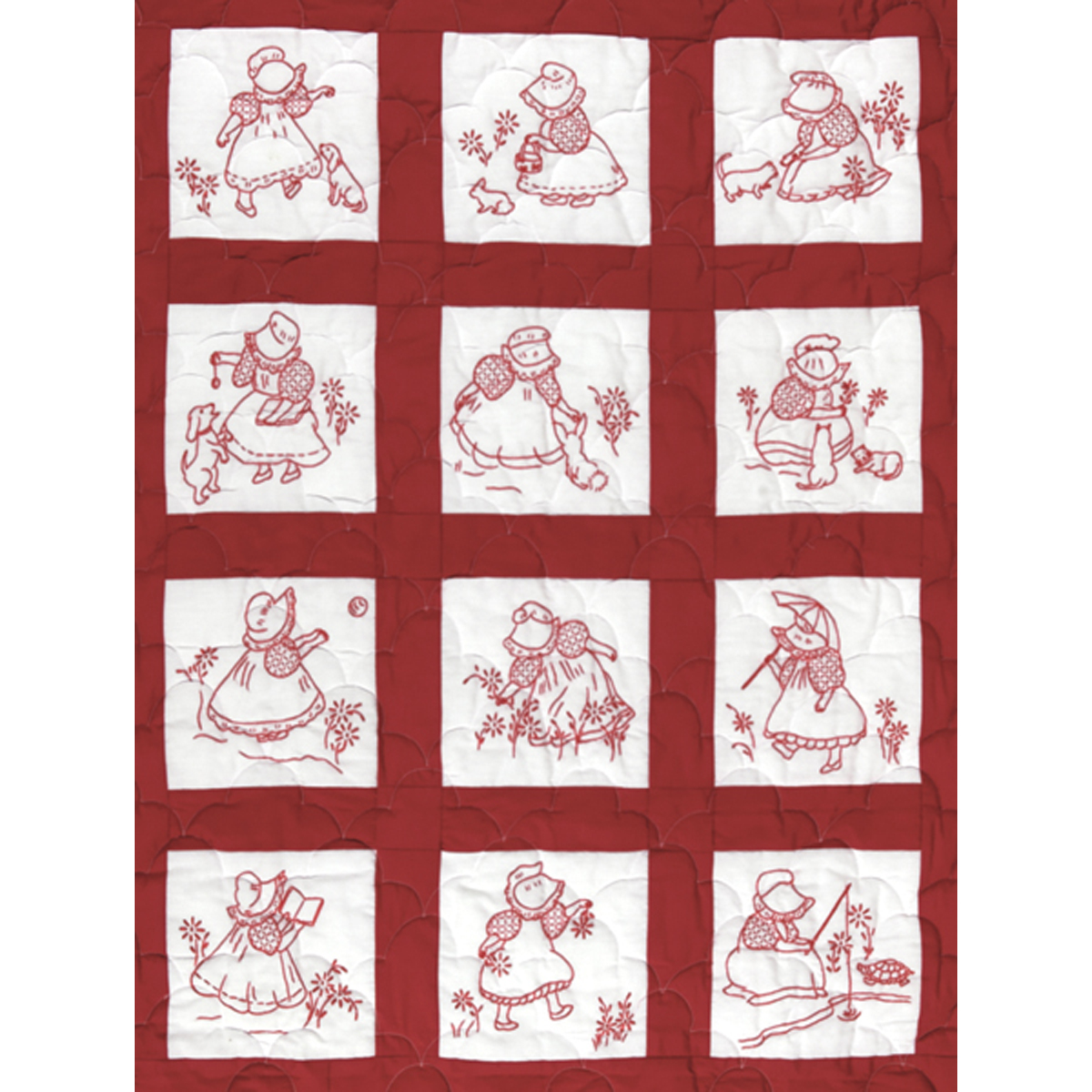 Stamped Embroidery Blocks - 9in - Sunbonnet Girls