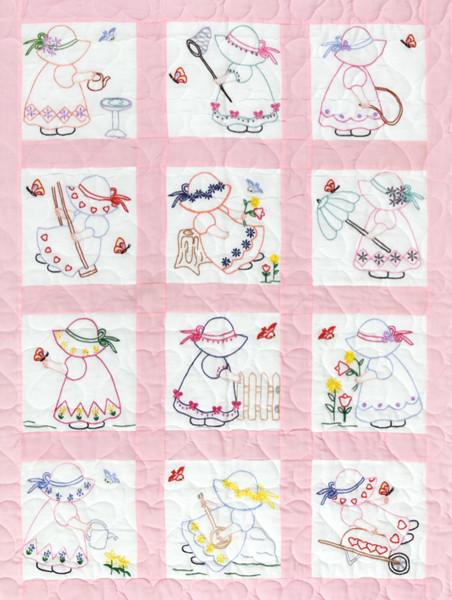 Stamped Embroidery Blocks - 9in - Girls