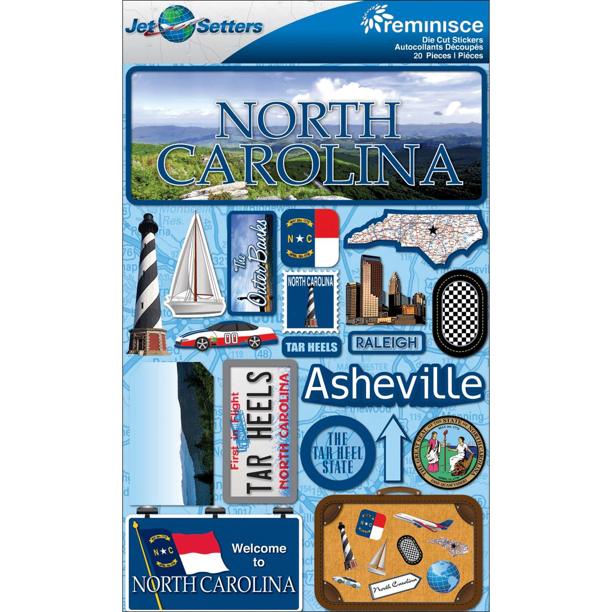 Reminisce Jet Setters State Dimensional Stickers 4.5X7.5-North Carolina