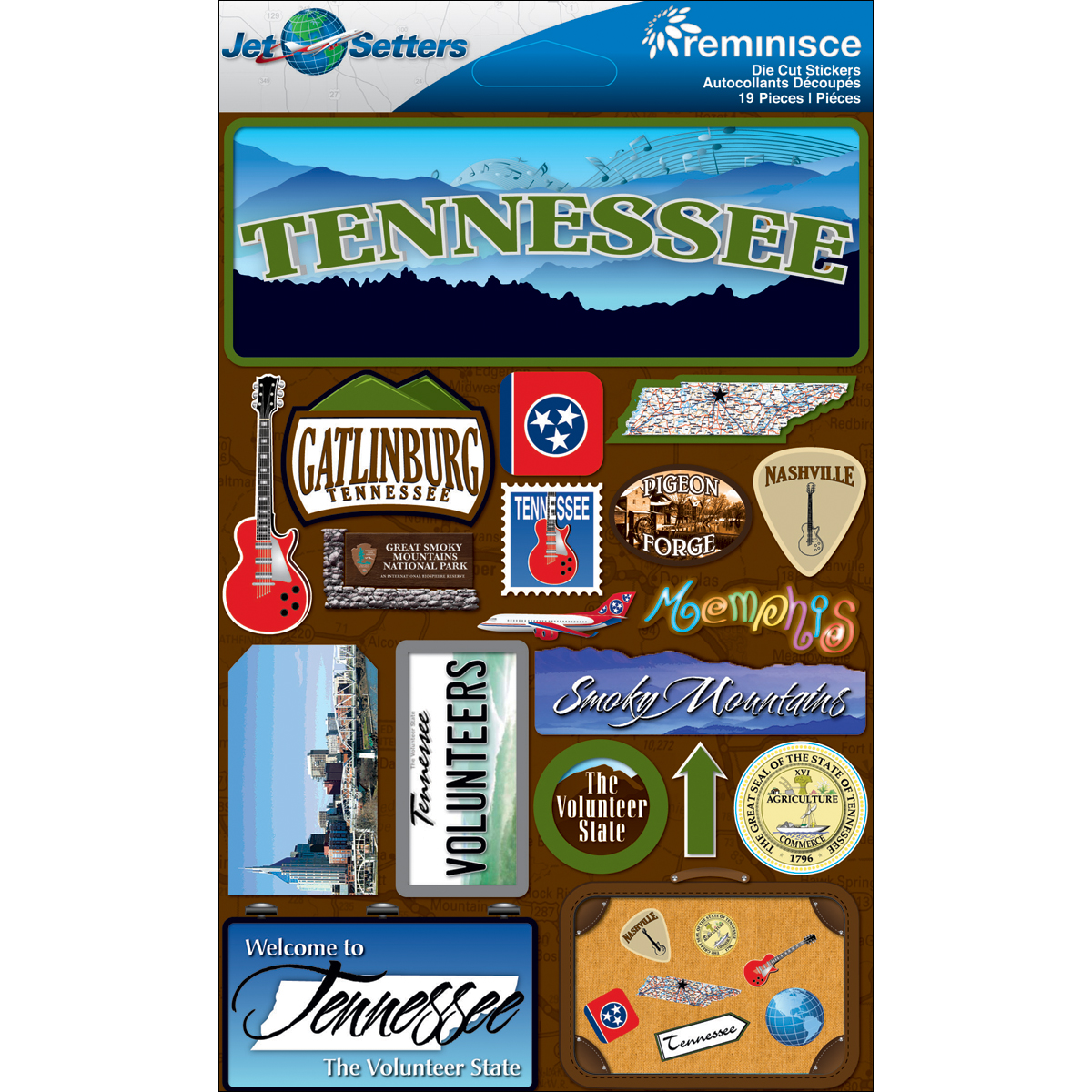 Reminisce Jet Setters State Dimensional Stickers 4.5X7.5-Tennessee