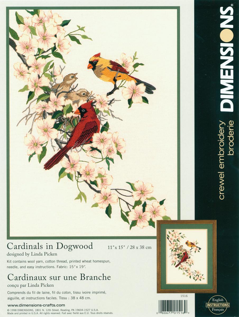 Crewel Kit 11X15-Cardinals In Dogwood