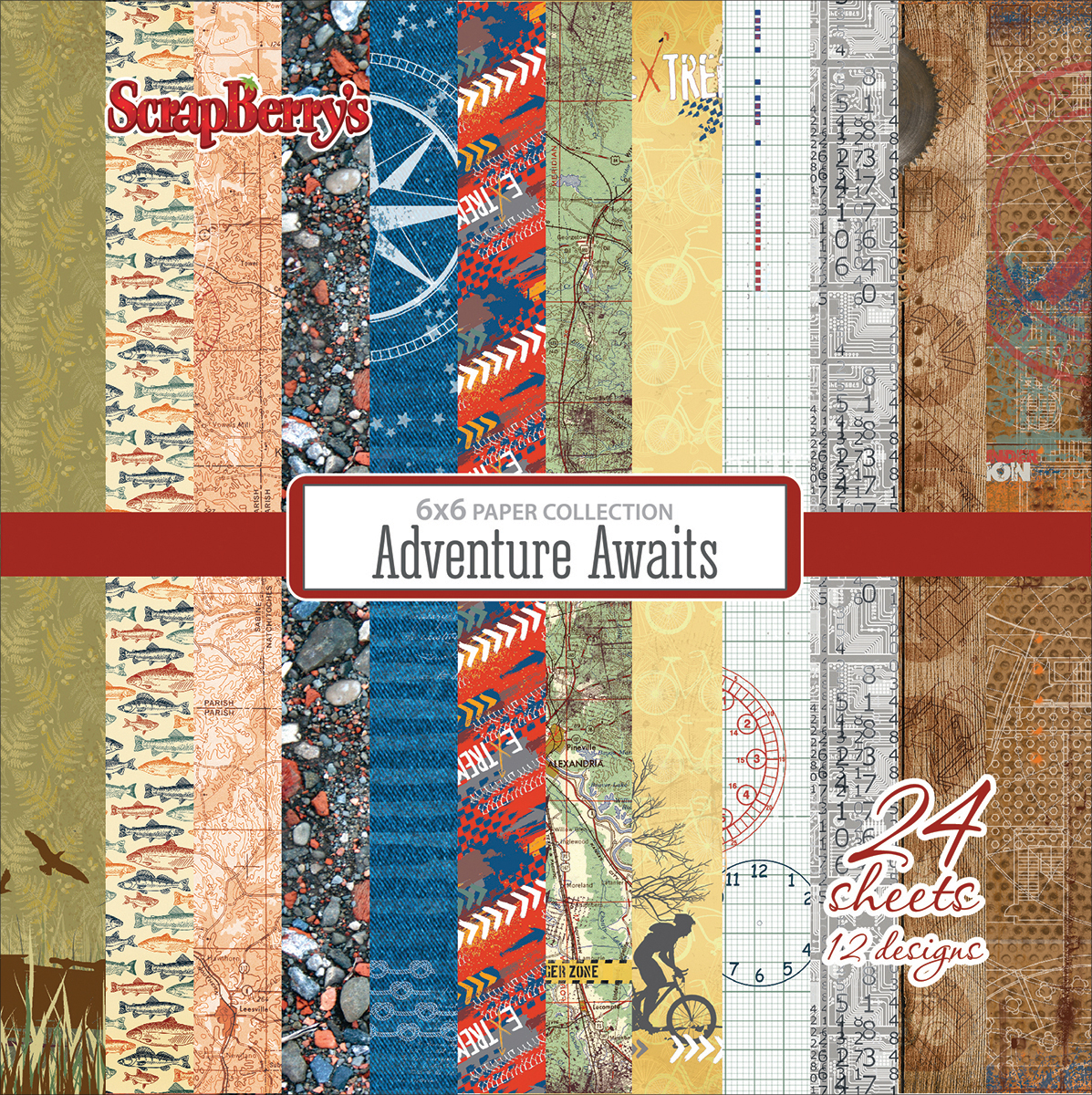 ScrapBerry's Adventure Awaits Paper Pack 6X6 24/Pkg-12 Double-Sided Designs/2 Each