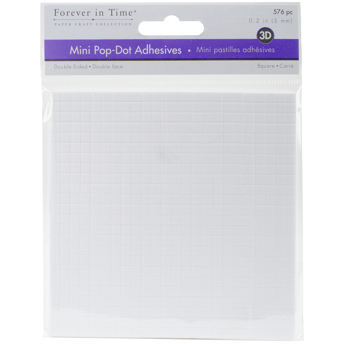 MultiCraft 3D Pop Dots Dual-Adhesive Micro Foam Adhesives-White Square, .2 576/...