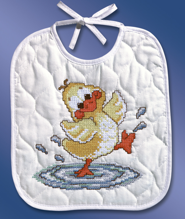 Janlynn Stamped Bib Cross Stitch Kit 9.5X11-Just Ducky