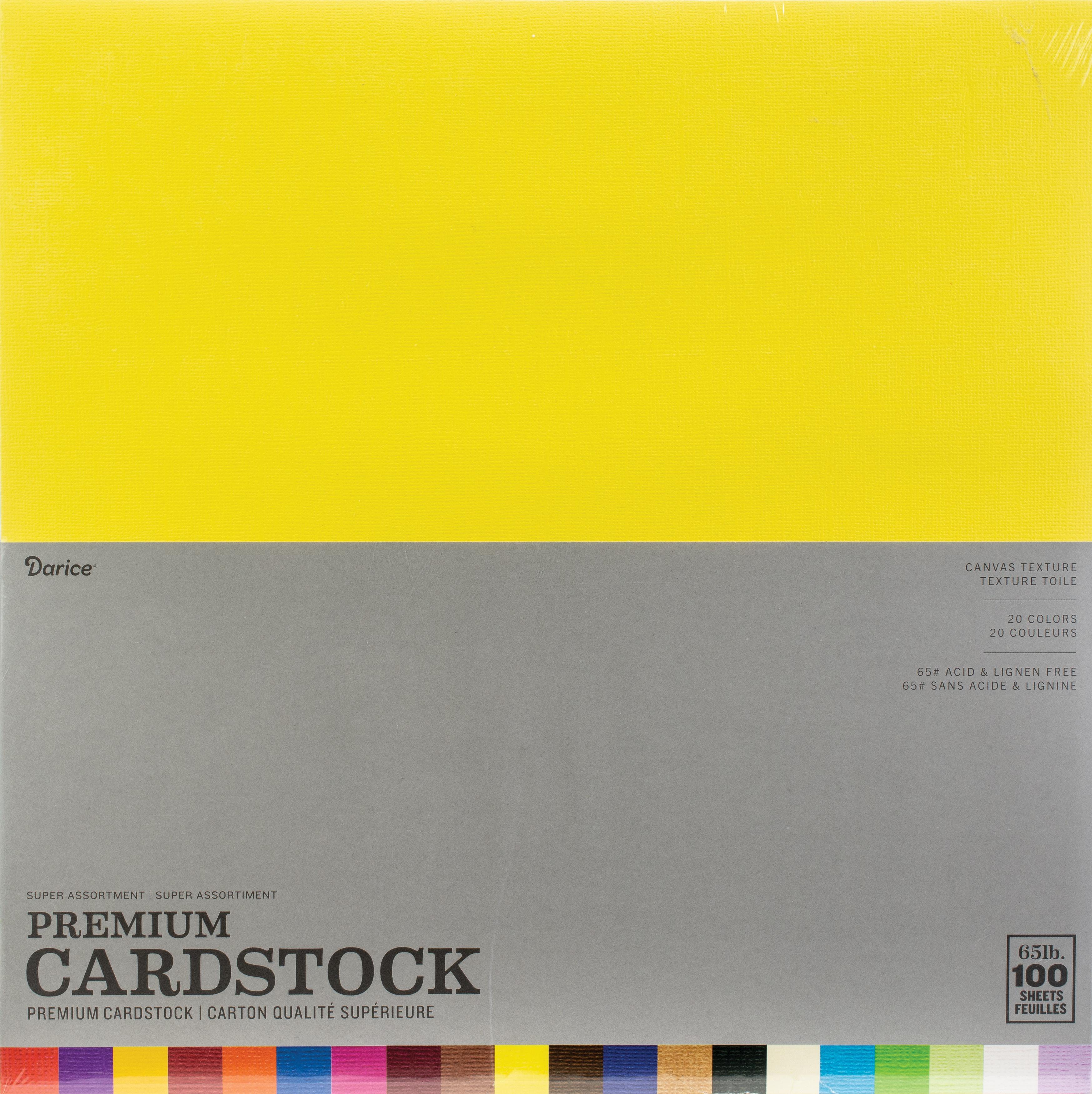 Darice Value Pack Canvas Cardstock 12X12 100/Pkg-Textured Super Assortment