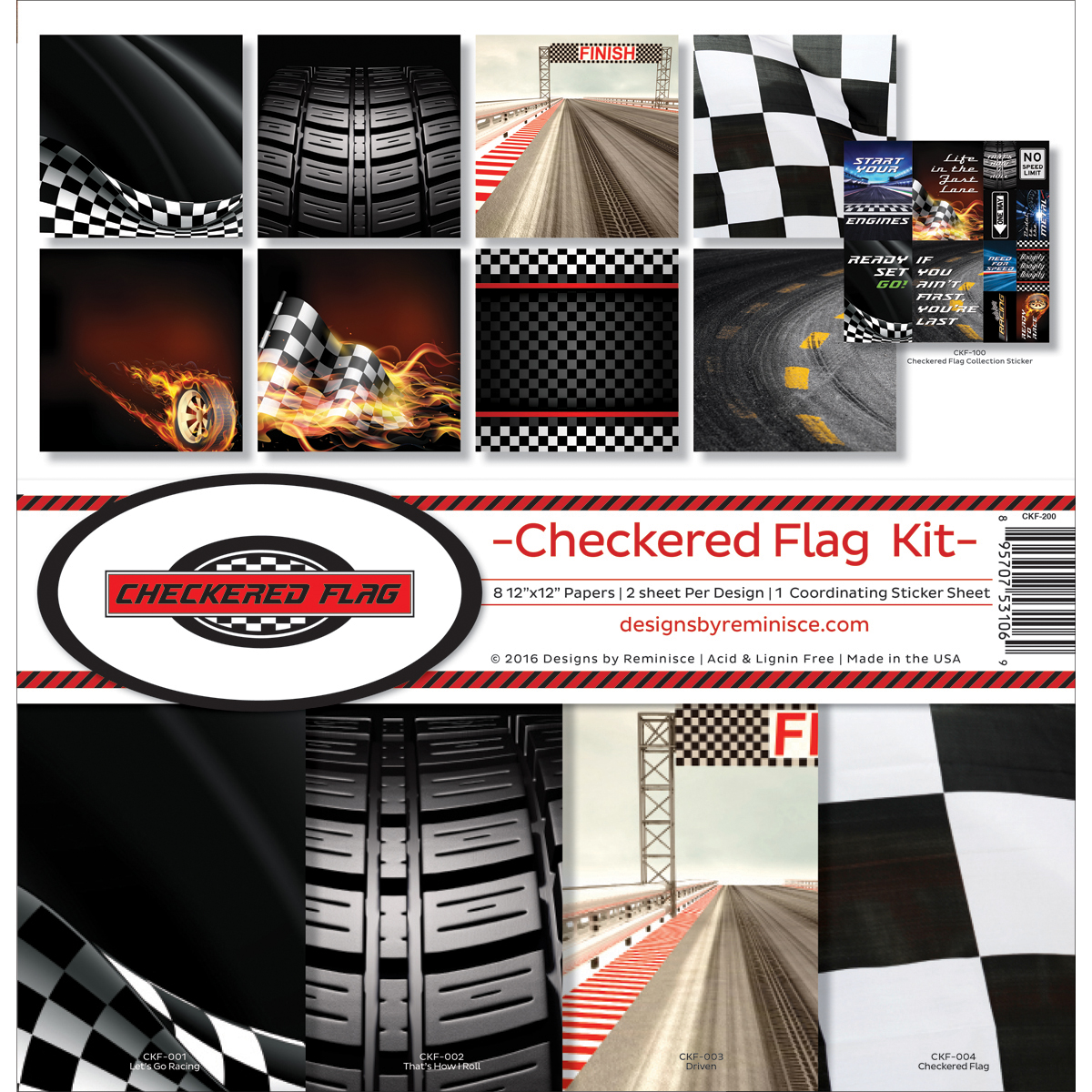 Reminisce Collection Kit 12X12-Checkered Flag