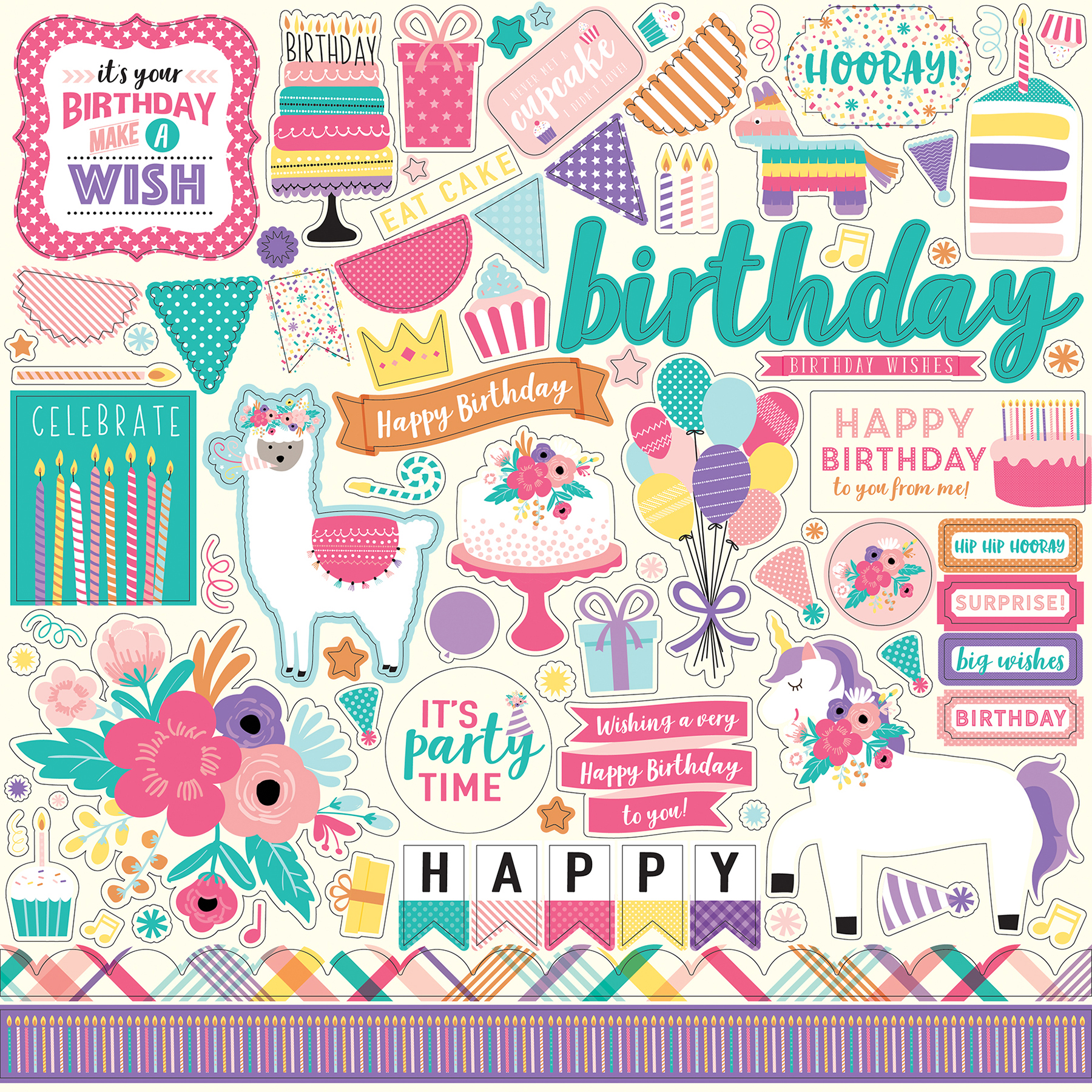 Happy Birthday Girl Cardstock Stickers 12X12-Elements