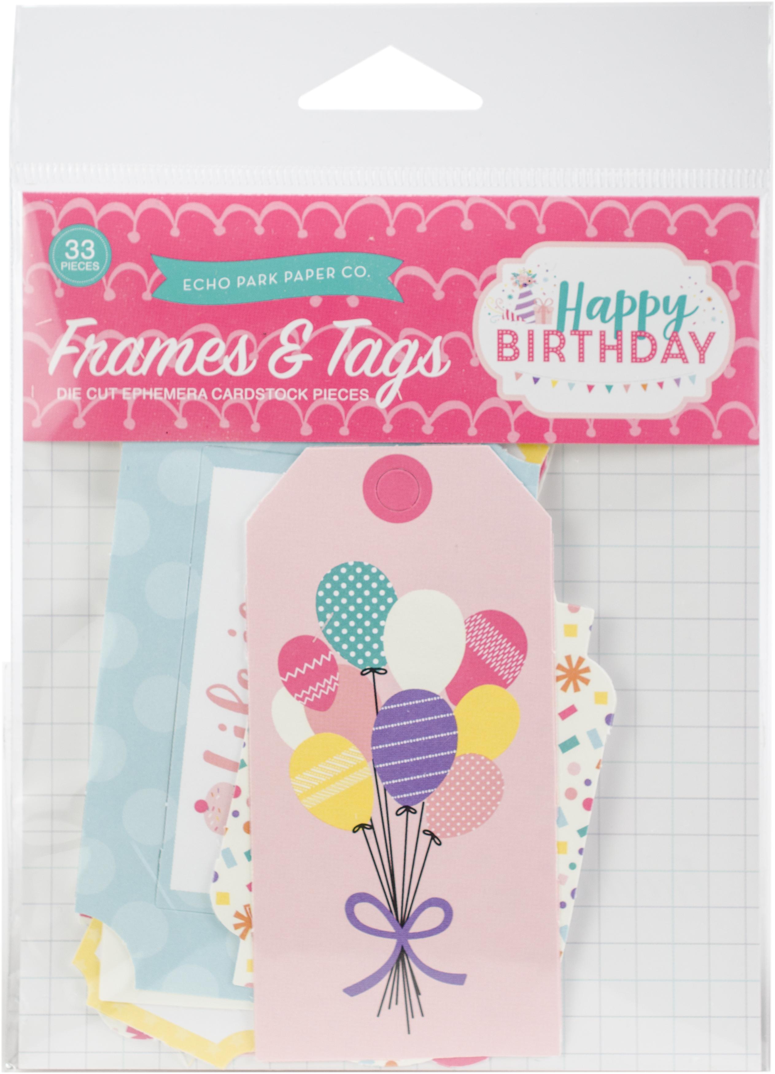 Happy Birthday Girl Echo Park Cardstock Ephemera 33/Pkg-Frames & Tags Happy Birthday Girl