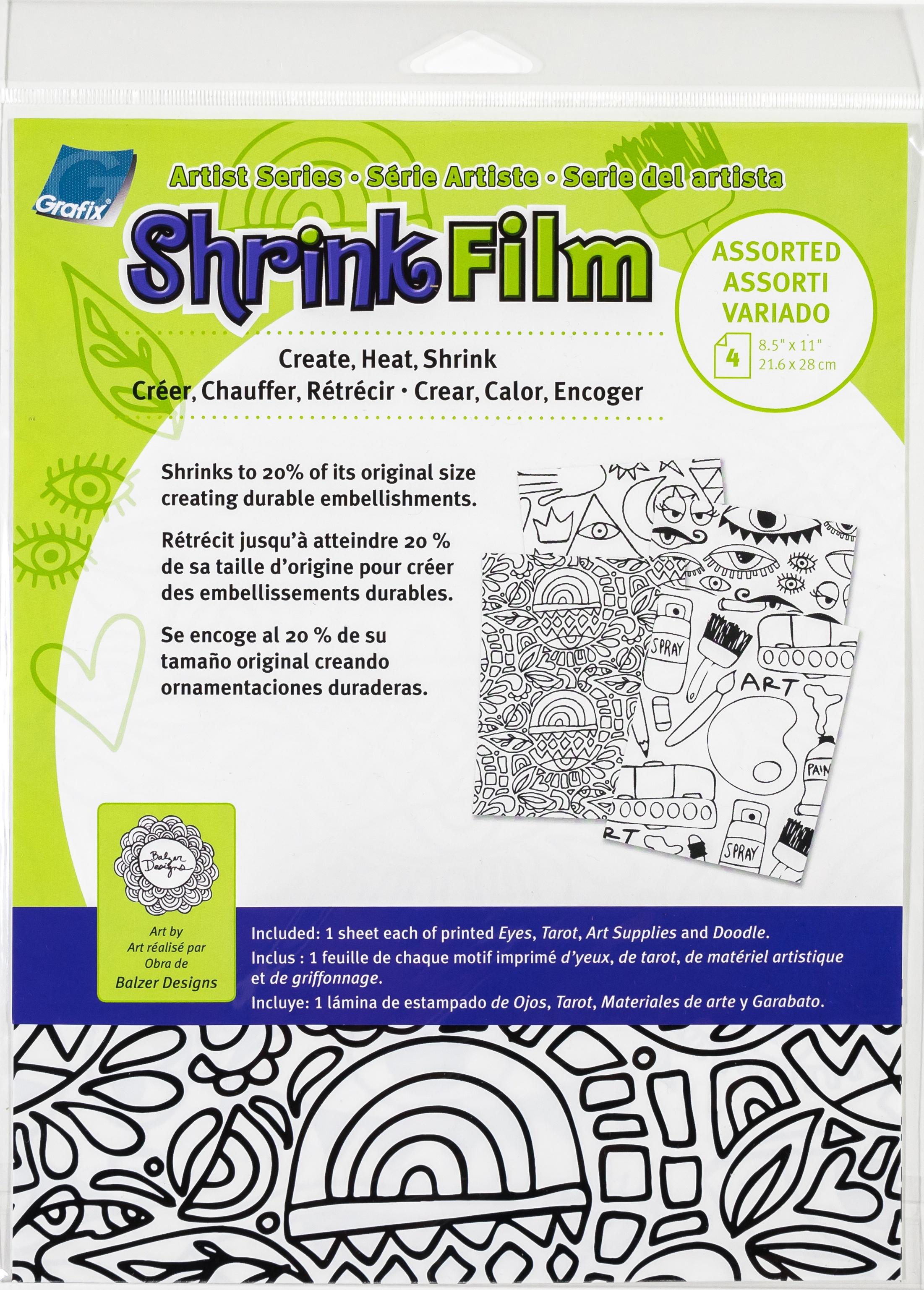 Artist Series Printed Shrink Film 8.5X11 4/Pkg-Eyes, Tarot, Art Supply, Doodle