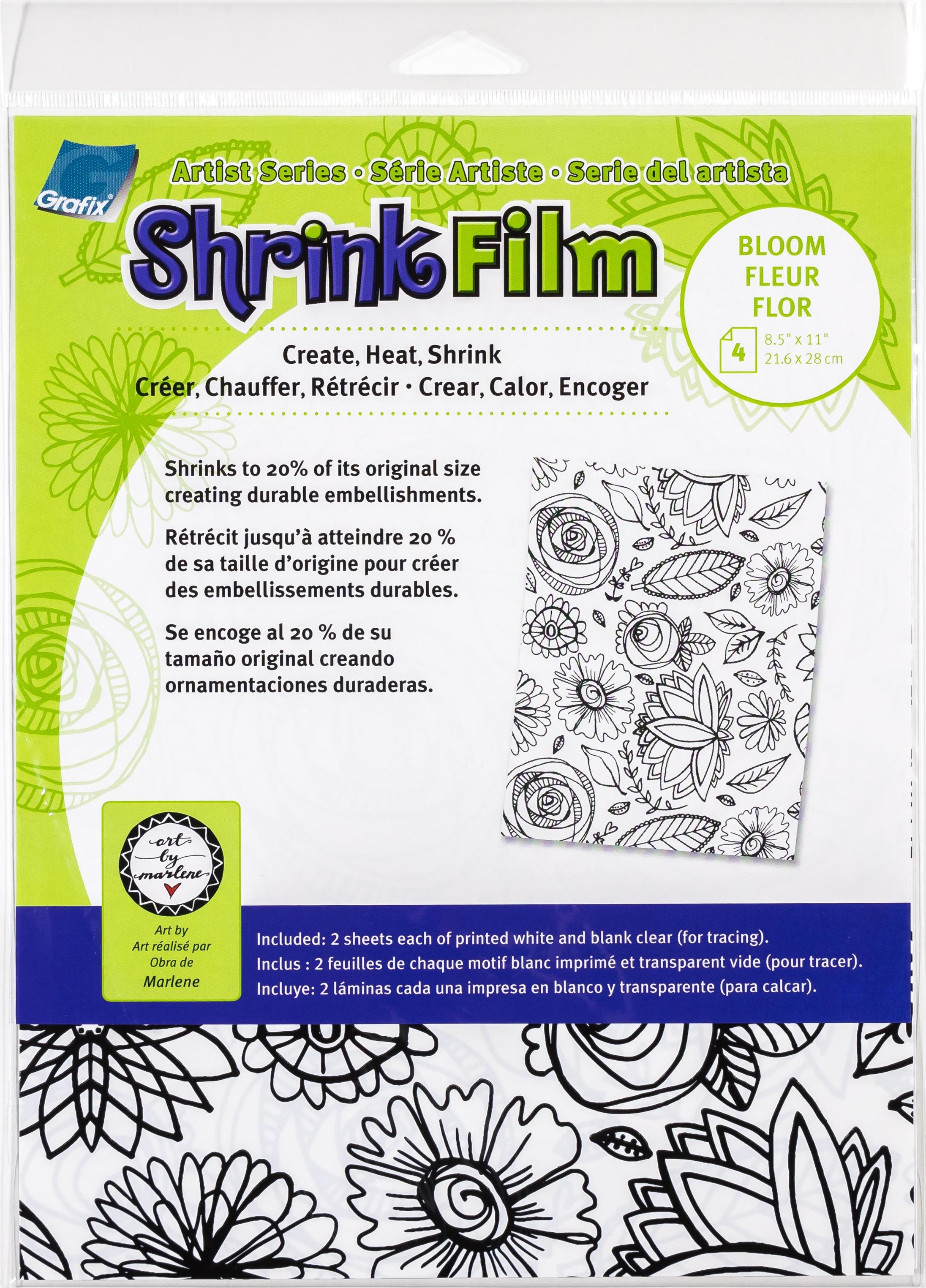 Artist Series Printed & Clear Shrink Film 8.5X11 4/Pkg-Bloom