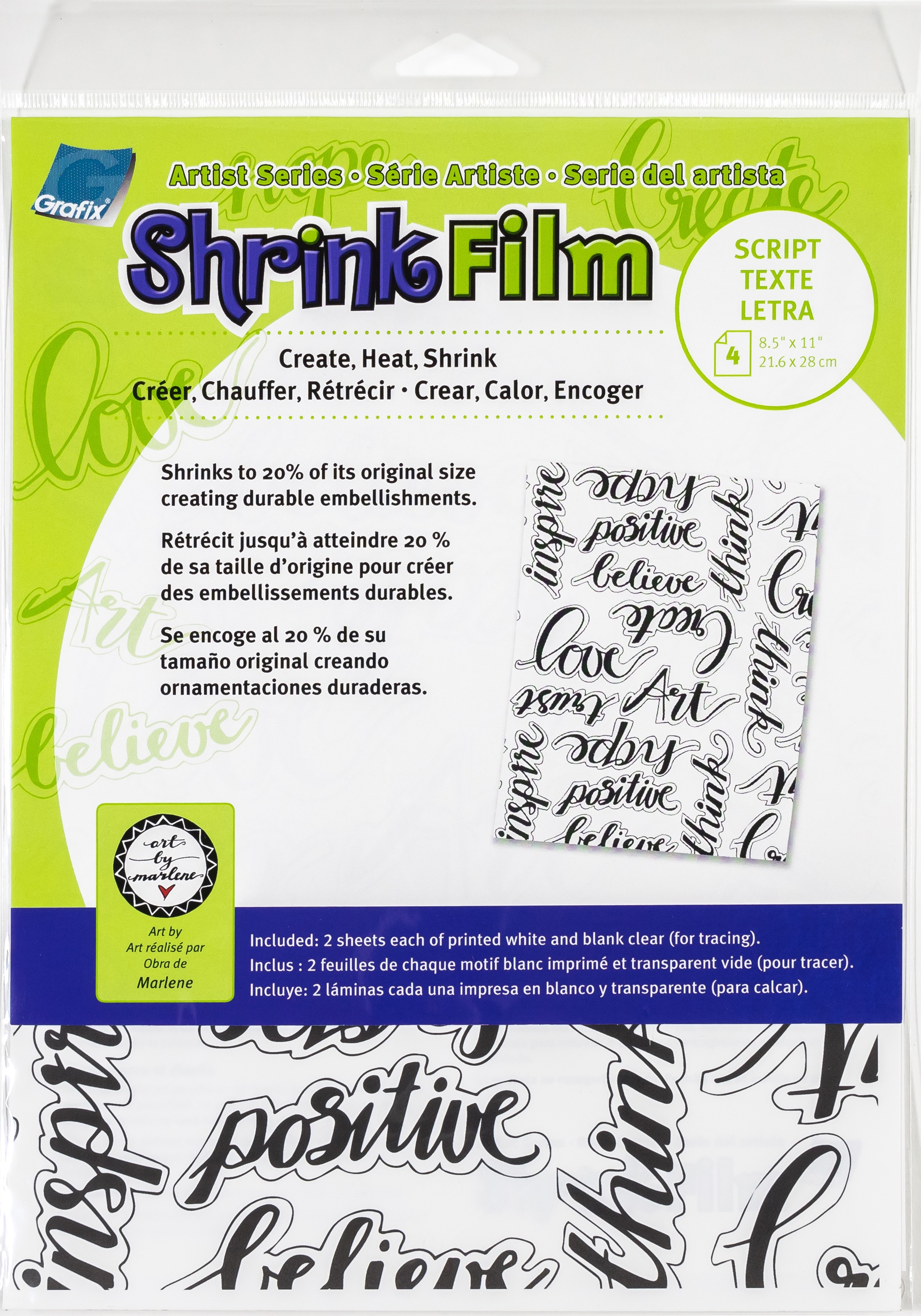 Artist Series Printed & Clear Shrink Film 8.5X11 4/Pkg-Script