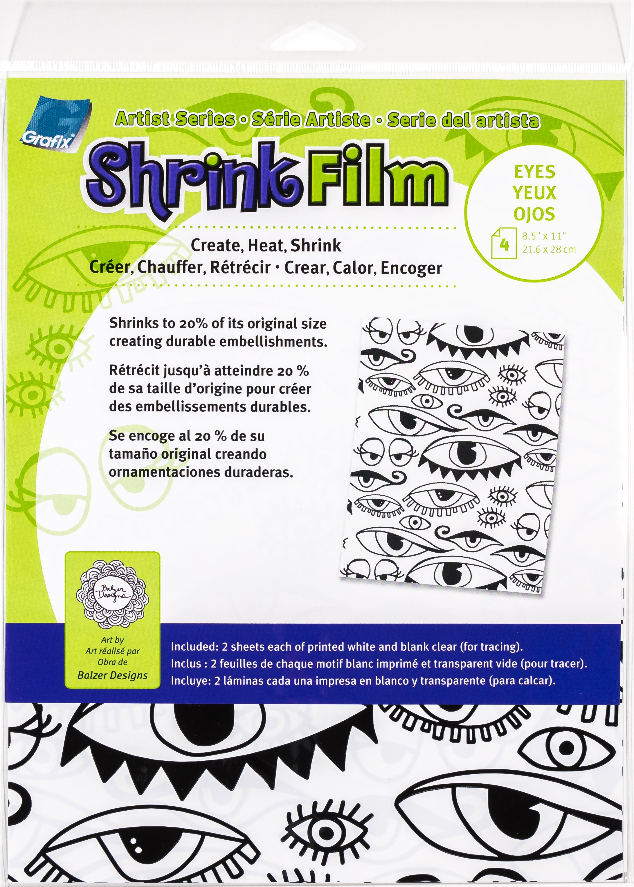 Artist Series Printed & Clear Shrink Film 8.5X11 4/Pkg-Eyes