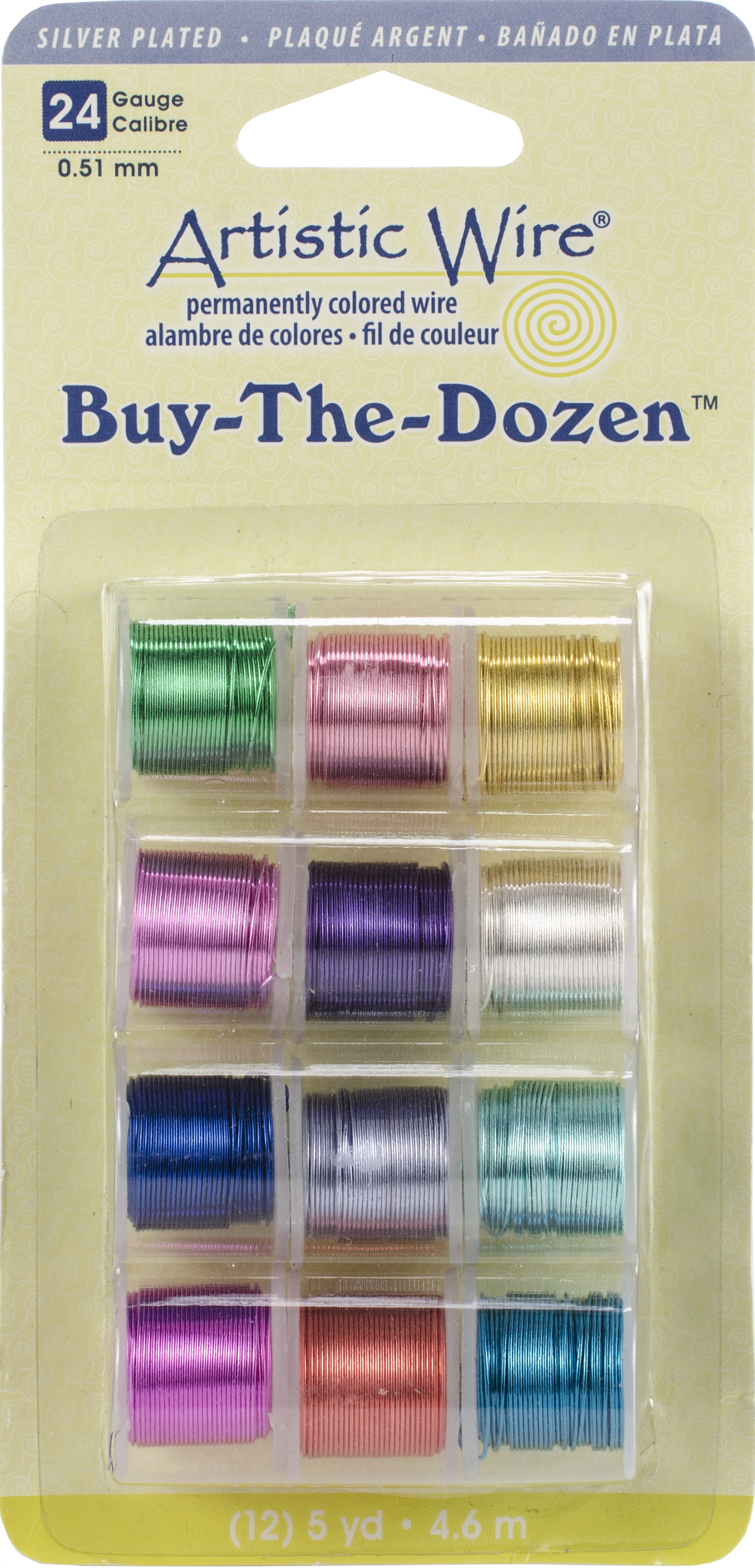 Artistic Wire Buy-The-Dozen Silver-Plated 5yd 12/Pkg-24 Gauge