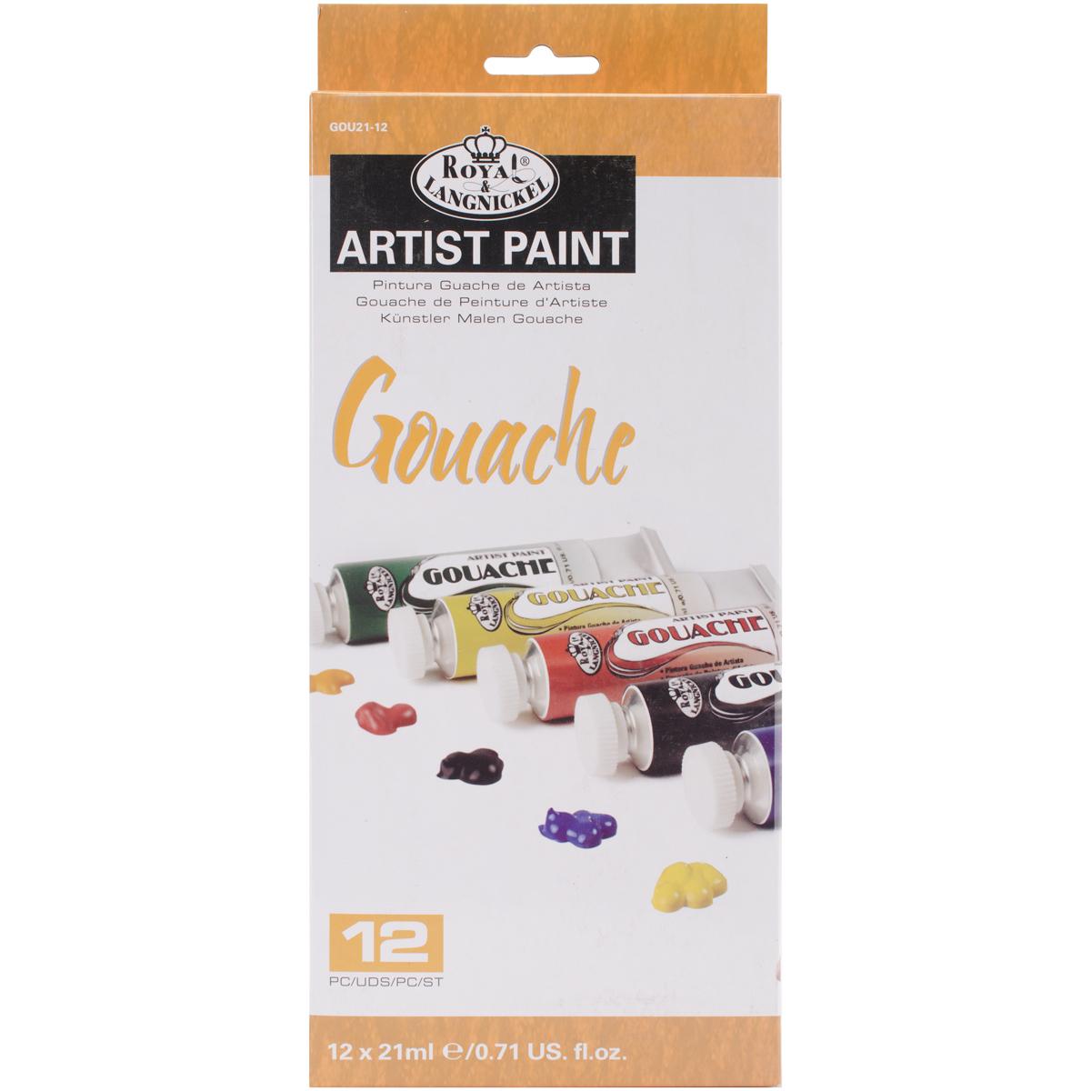 Gouache Acrylic Paints 21ml 12/Pkg-Assorted Colors