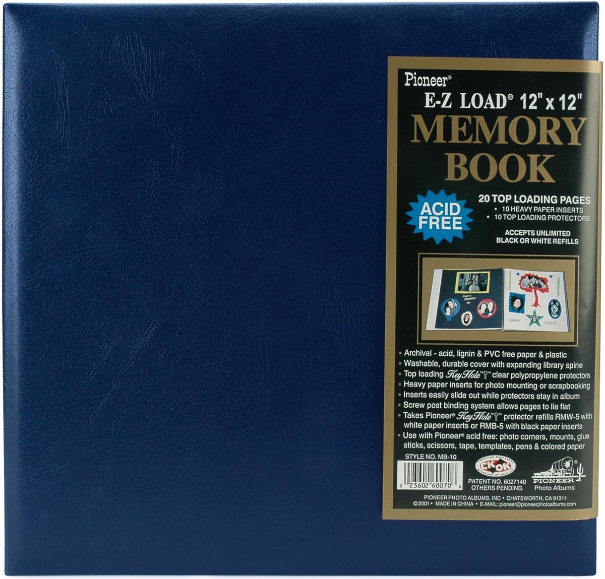 Pioneer Leatherette Post Bound Album 12X12-Navy