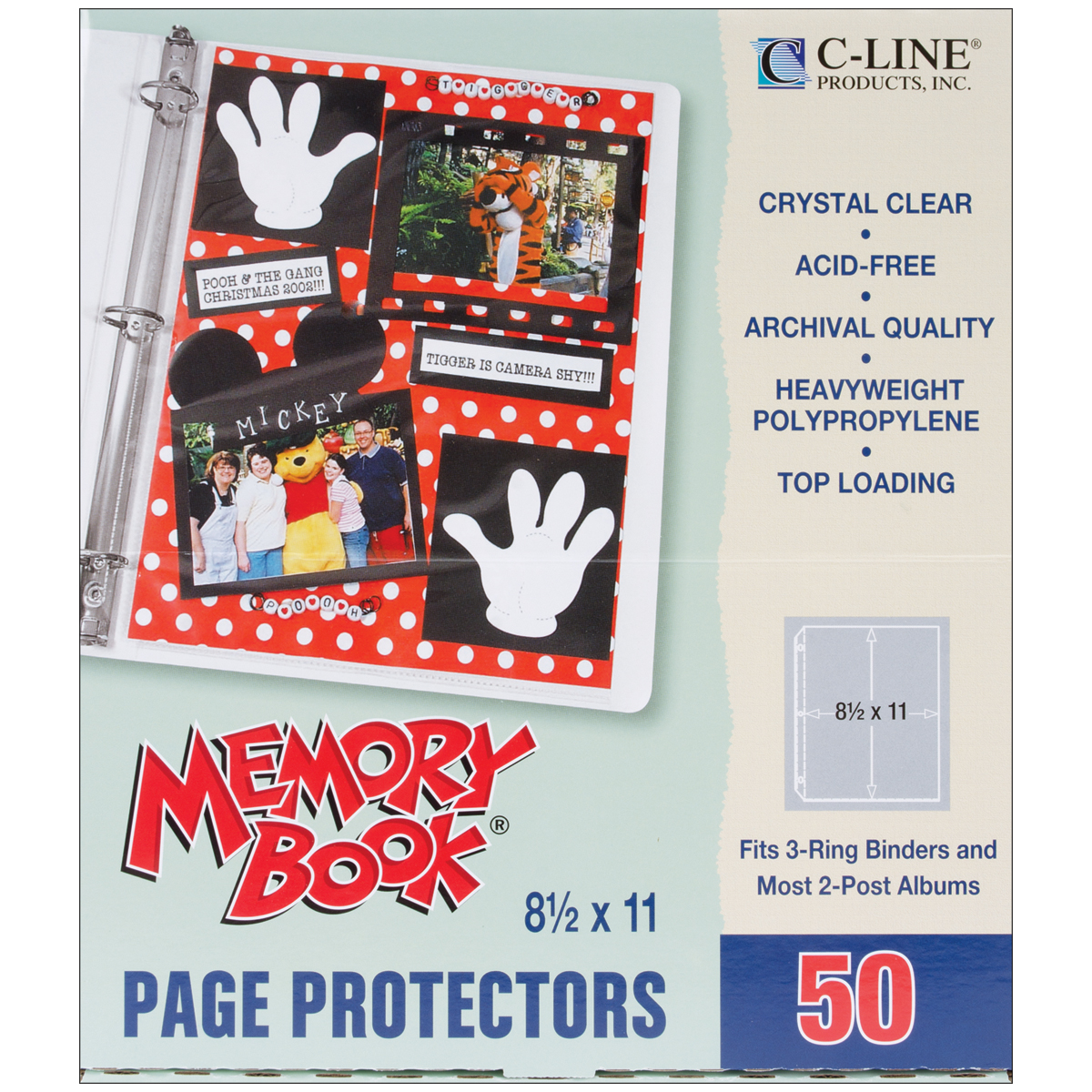 Memory Book Top-Loading Page Protectors 8.5X11 50/Pkg-