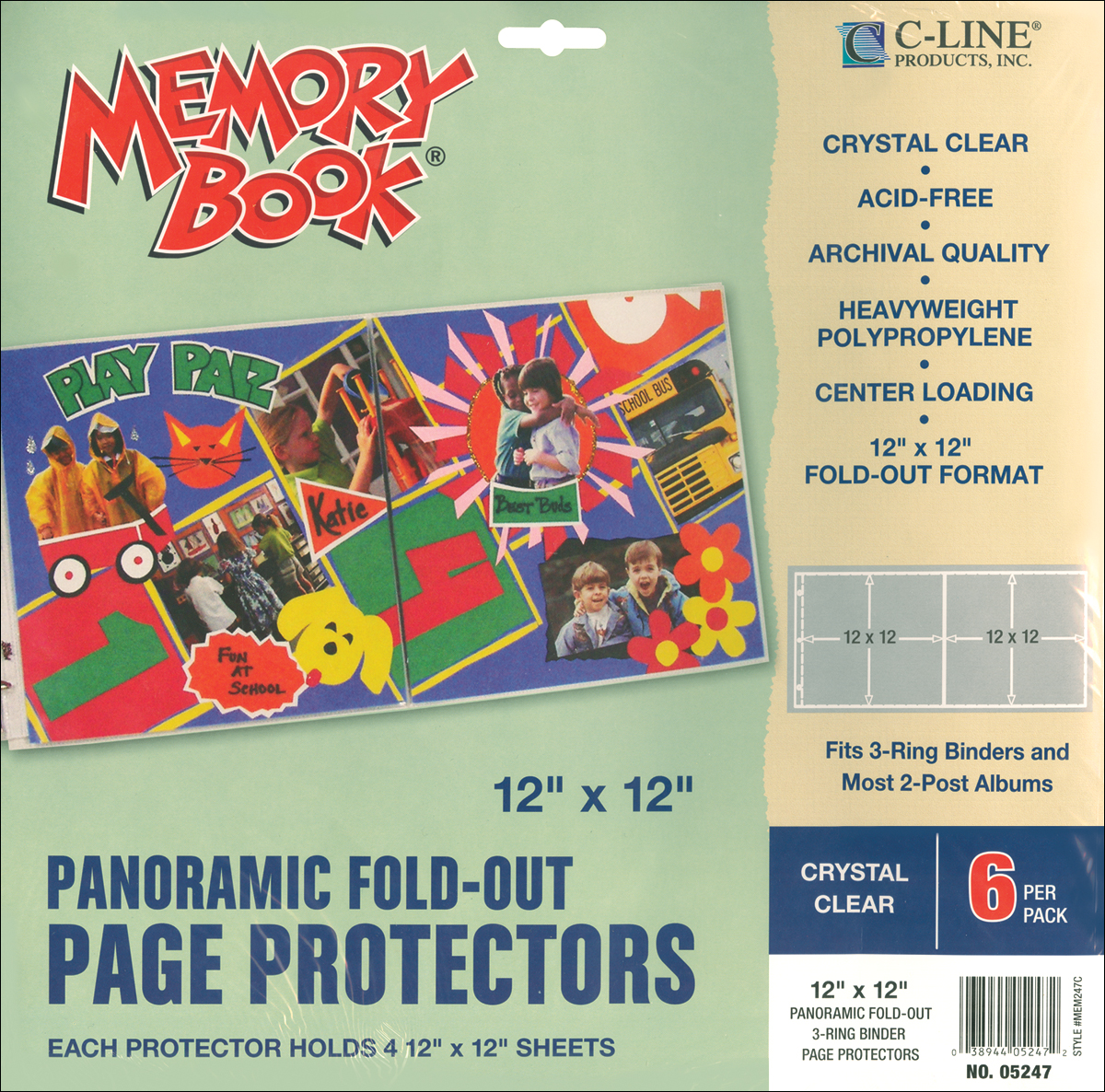 Memory Book Panoramic Fold-Out Page Protectors 12X12 6/Pkg-