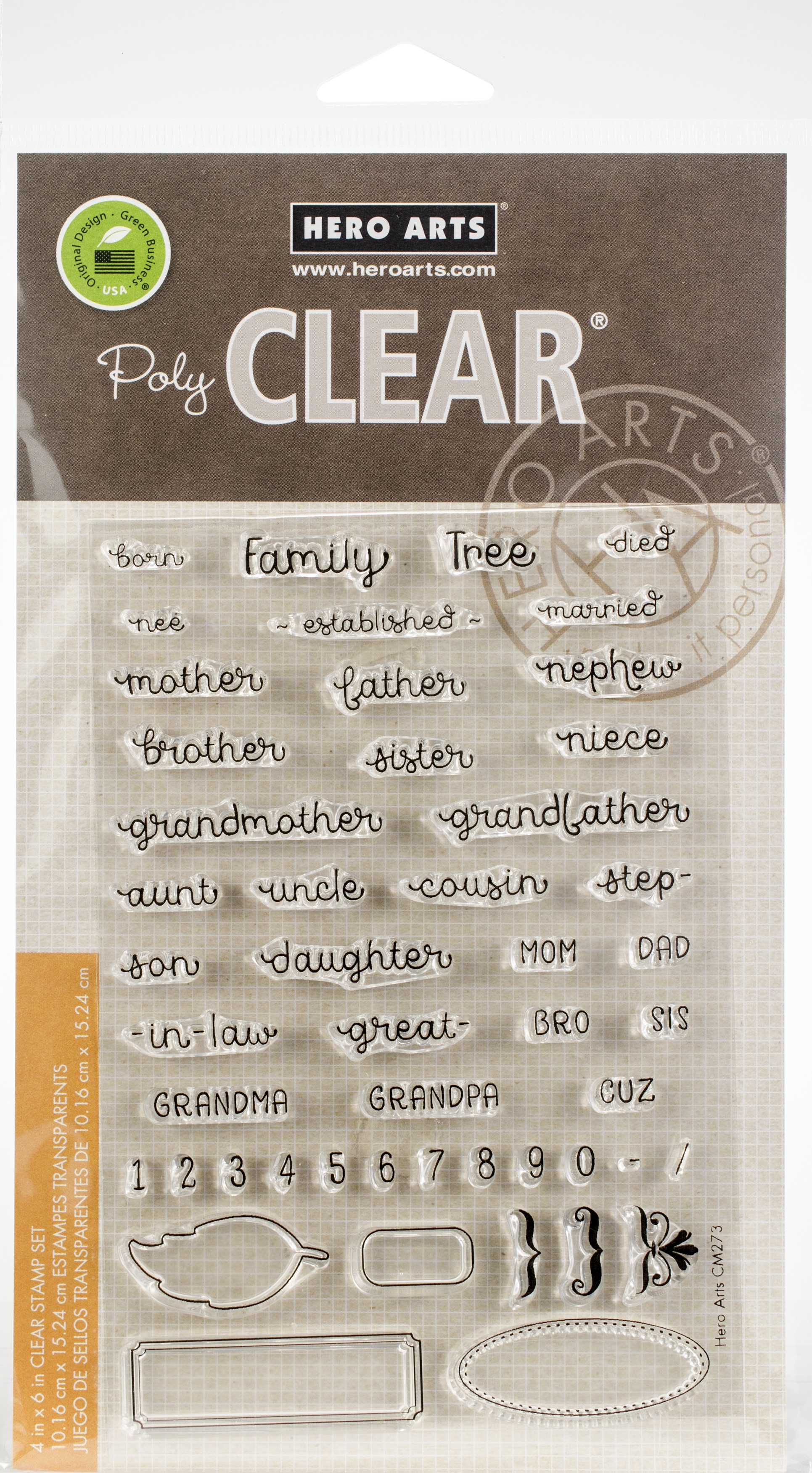 Hero Arts Clear Stamps 4X6-Family Tree Words