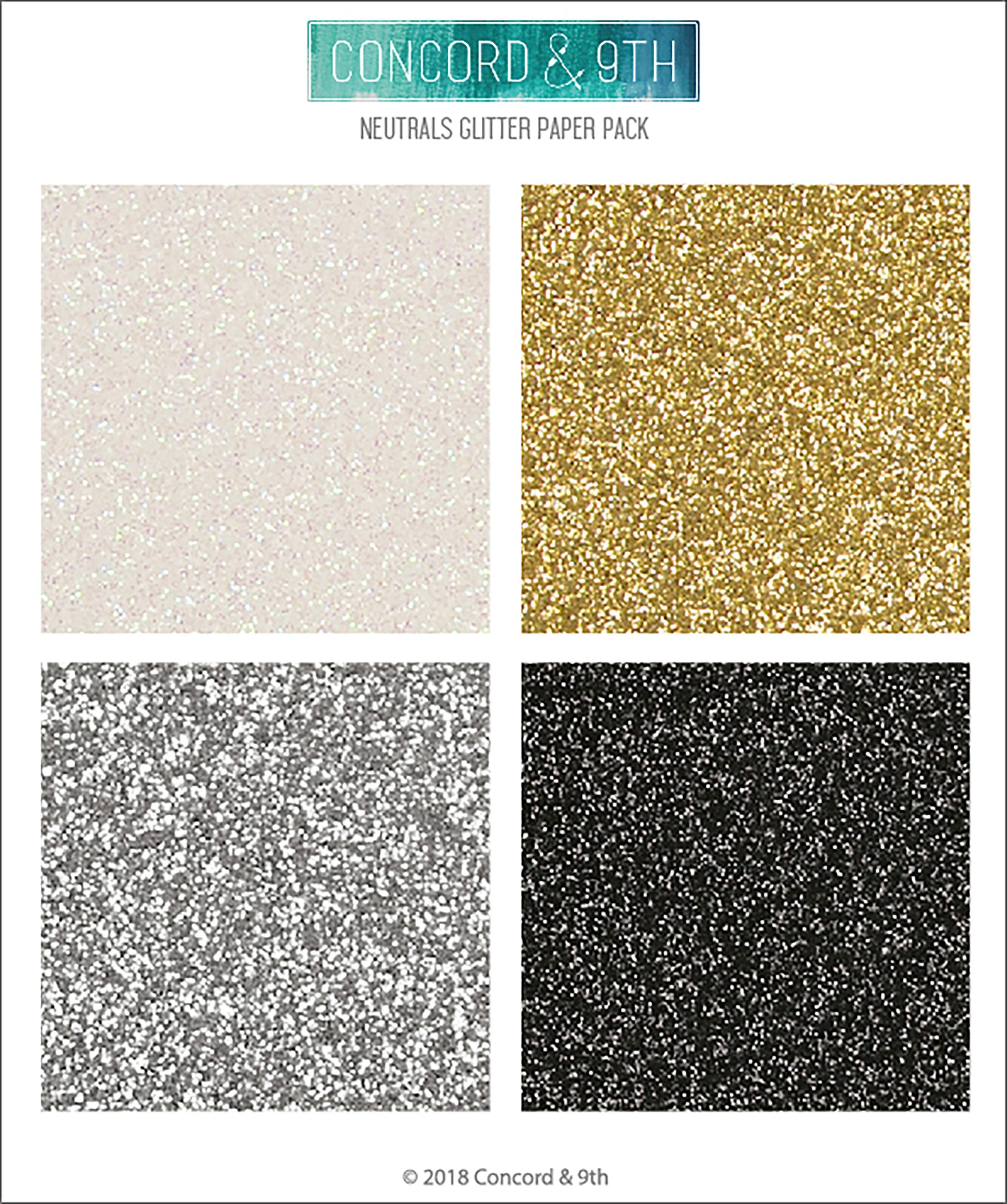 Neutrals Glitter Paper Pack