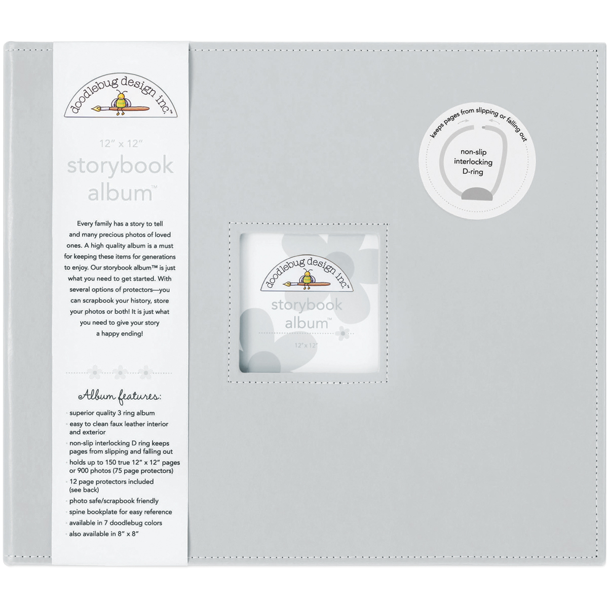 Doodlebug Storybook D-Ring Album 12X12-Gray