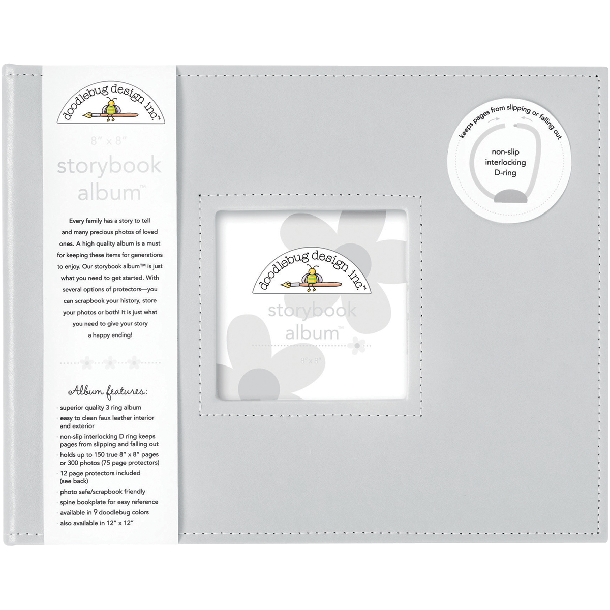 Doodlebug Storybook D-Ring Album 8X8-Gray