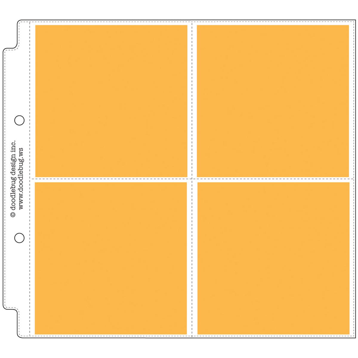 Doodlebug Page Protectors 8X8 12/Pkg-(4) 4X4 Pockets
