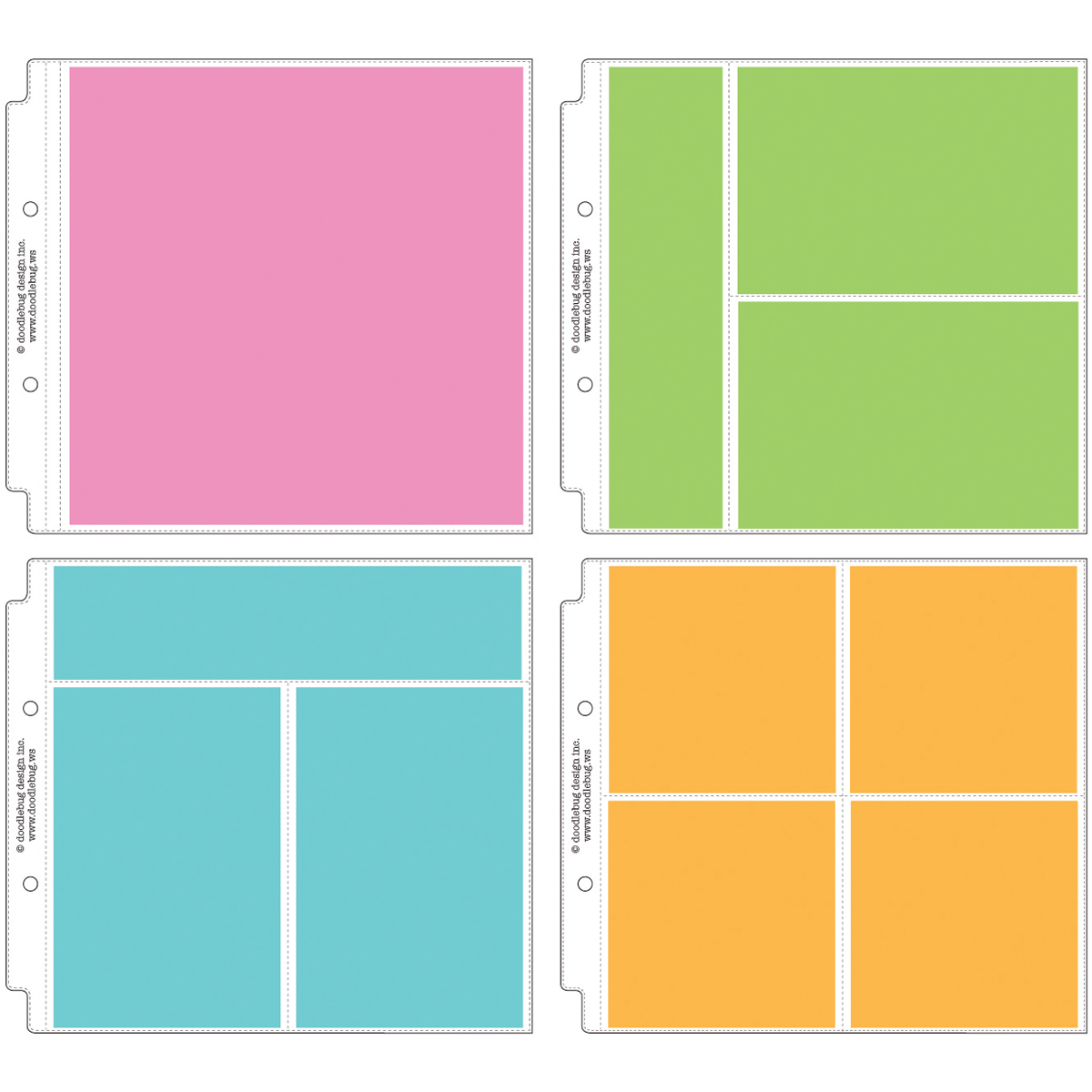 Doodlebug Page Protector Assortment 8X8 12/Pkg-3 Each Of All 4 Styles