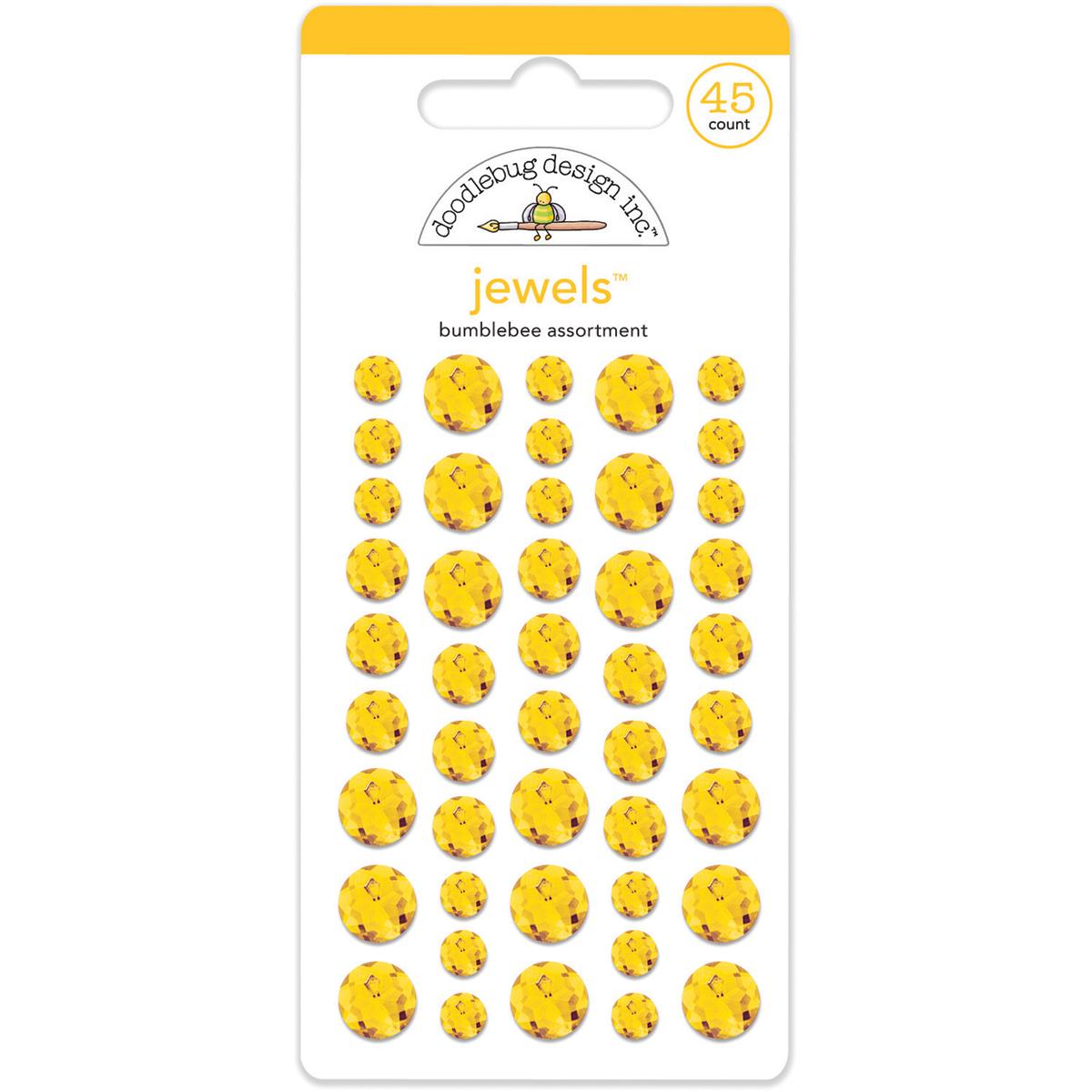 Doodlebug Adhesive Jewels 6mm, 8mm & 10mm 45/Pkg-Bumblebee