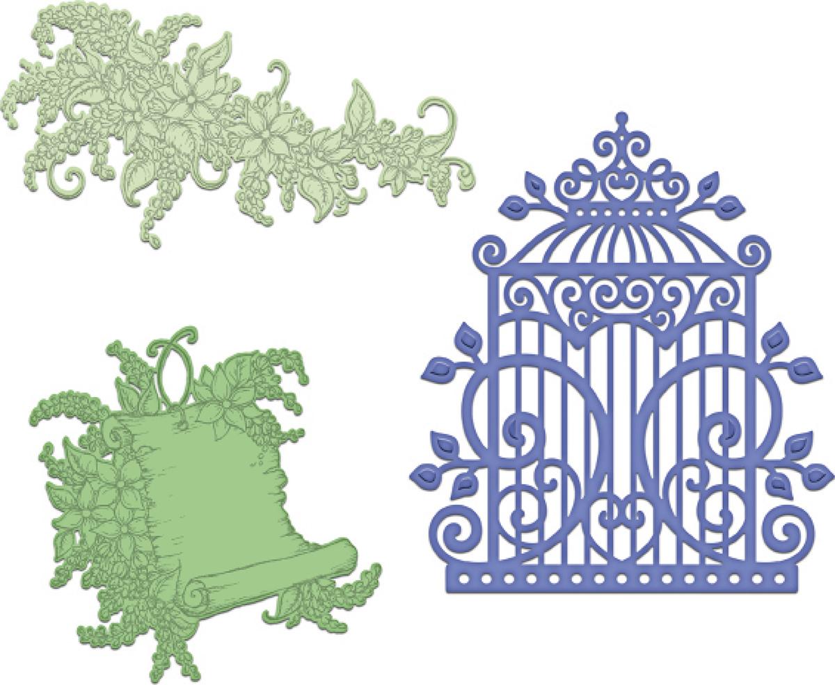 Sweet Lilac Scroll & Cage Die