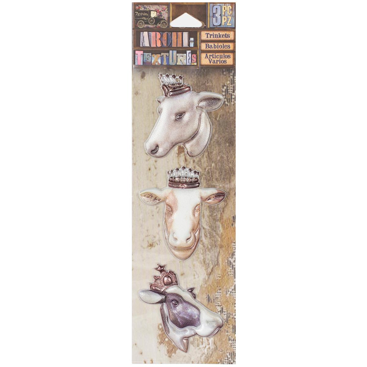 7 Gypsies Architextures Trinkets Adhesive Embellishments-Bovine Beauties 2 3/P...