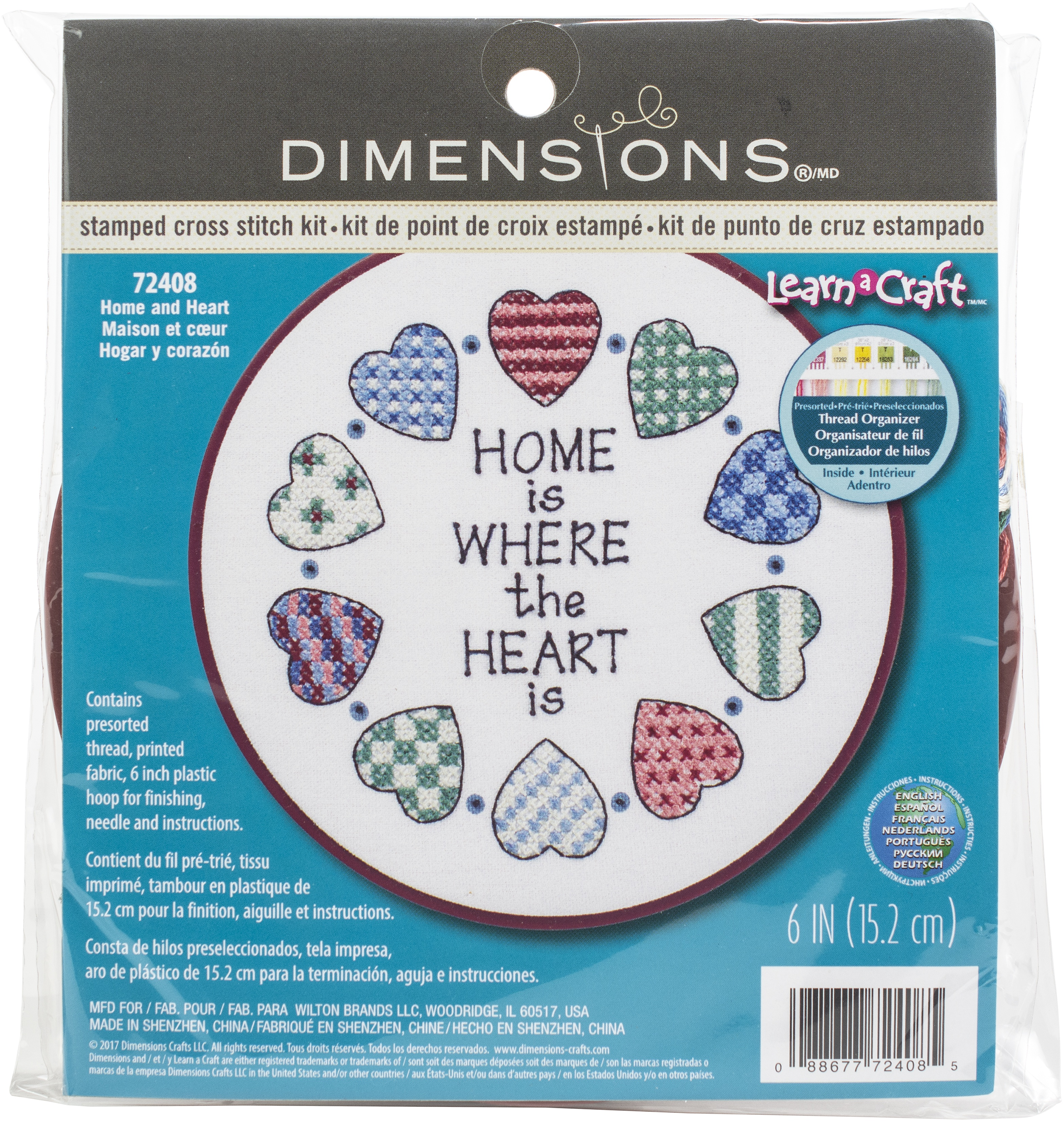 Dimensions Learn-A-Craft Stamped Cross Stitch Kit 6 Round-Home & Heart