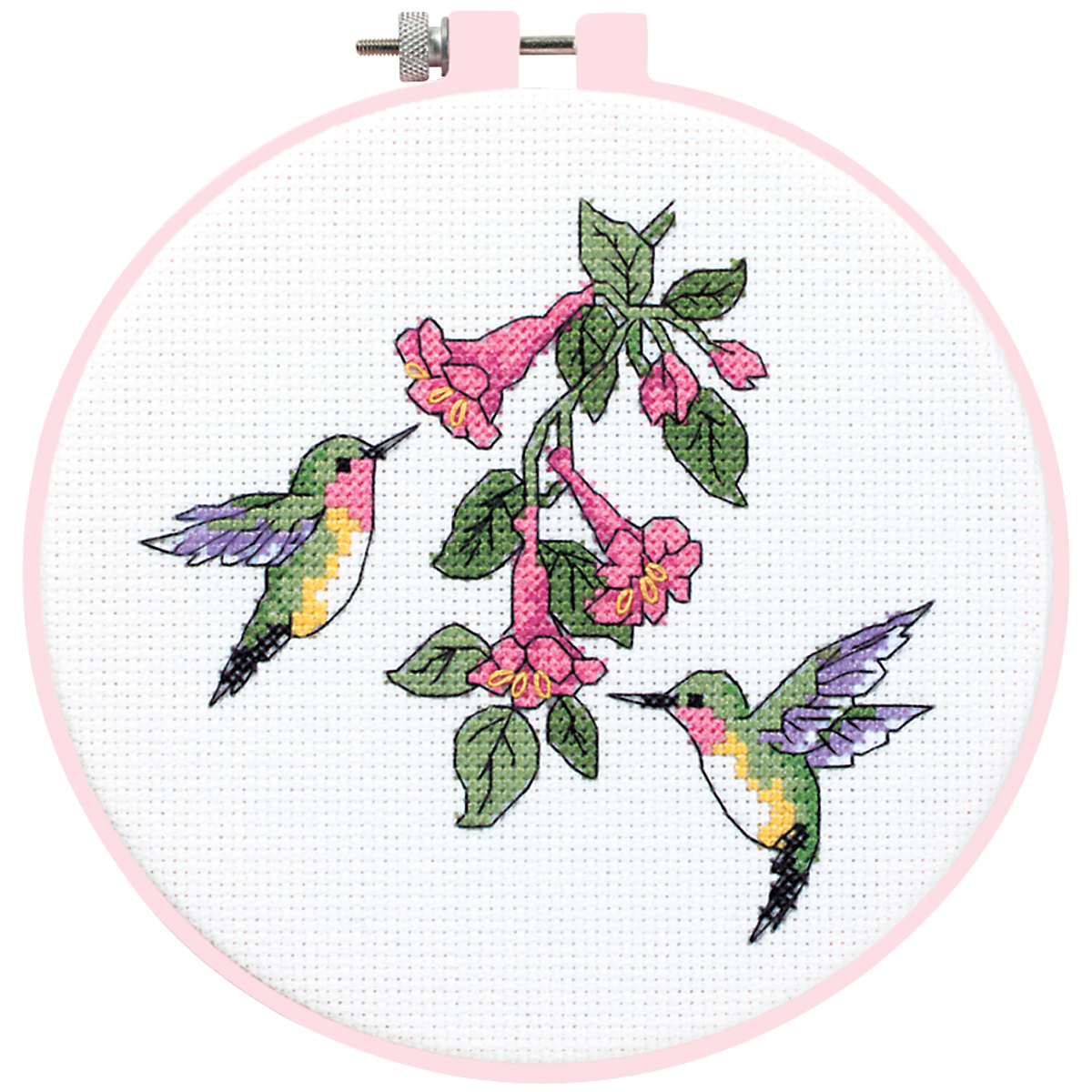 Dimensions/Learn-A-Craft Counted Cross Stitch Kit 6 Round-Hummingbird Duo (14 C...