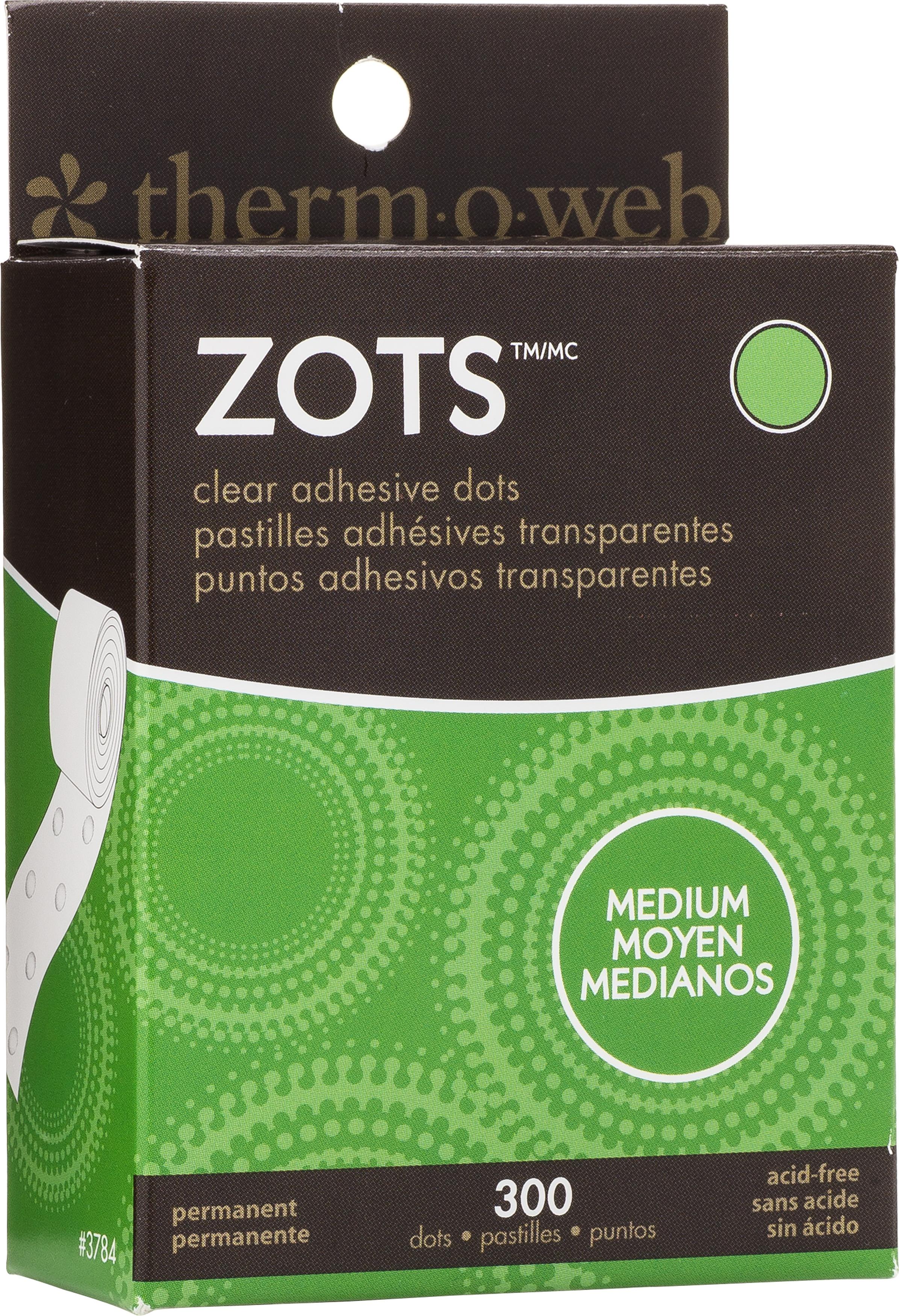 Zots Clear Adhesive Dots-Medium 3/8X1/64 Thick 300/Pkg